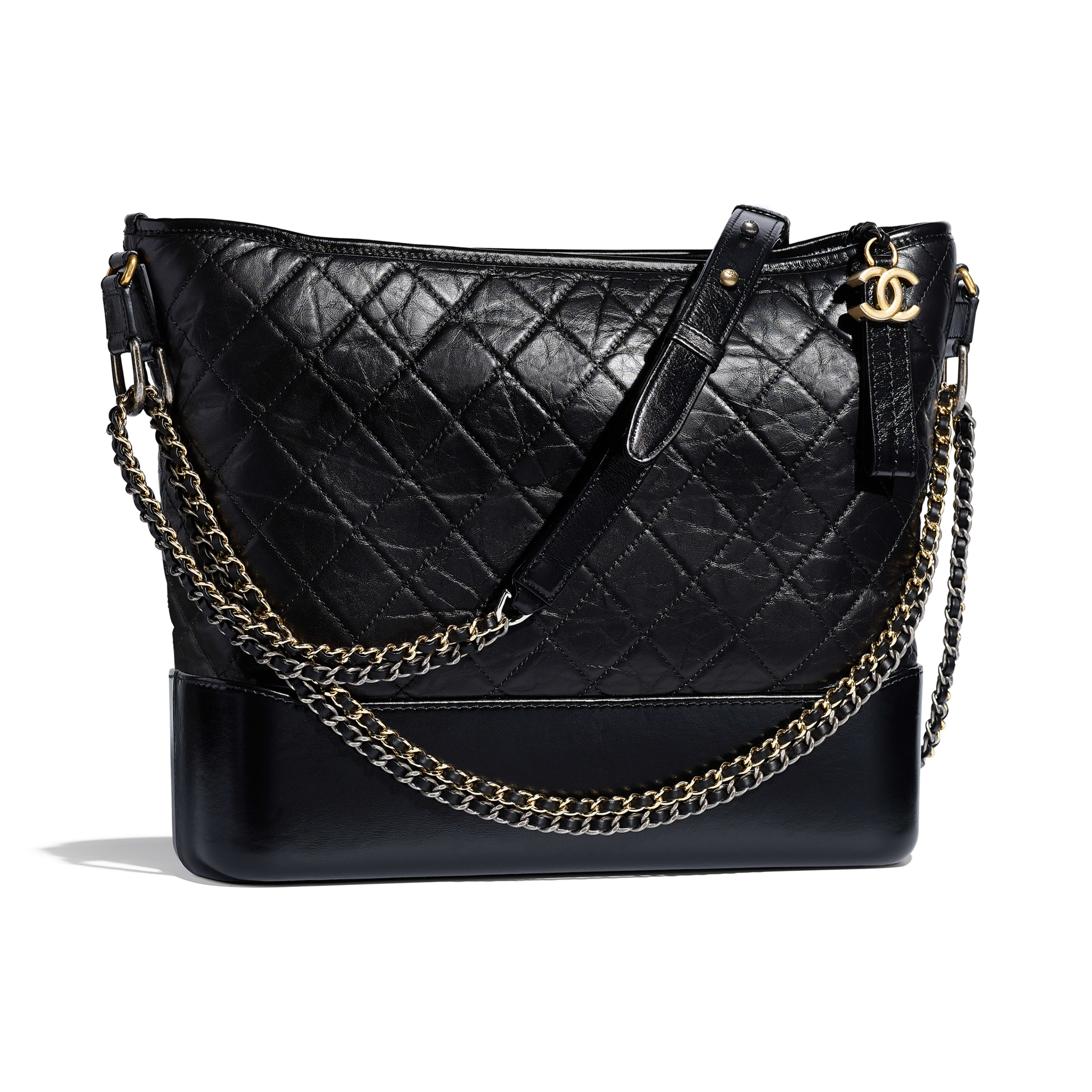 CHANEL'S GABRIELLE Large Hobo Bag - Black - Aged Calfskin, Smooth Calfskin, Silver-Tone & Gold-Tone Metal - Other view - see full sized version