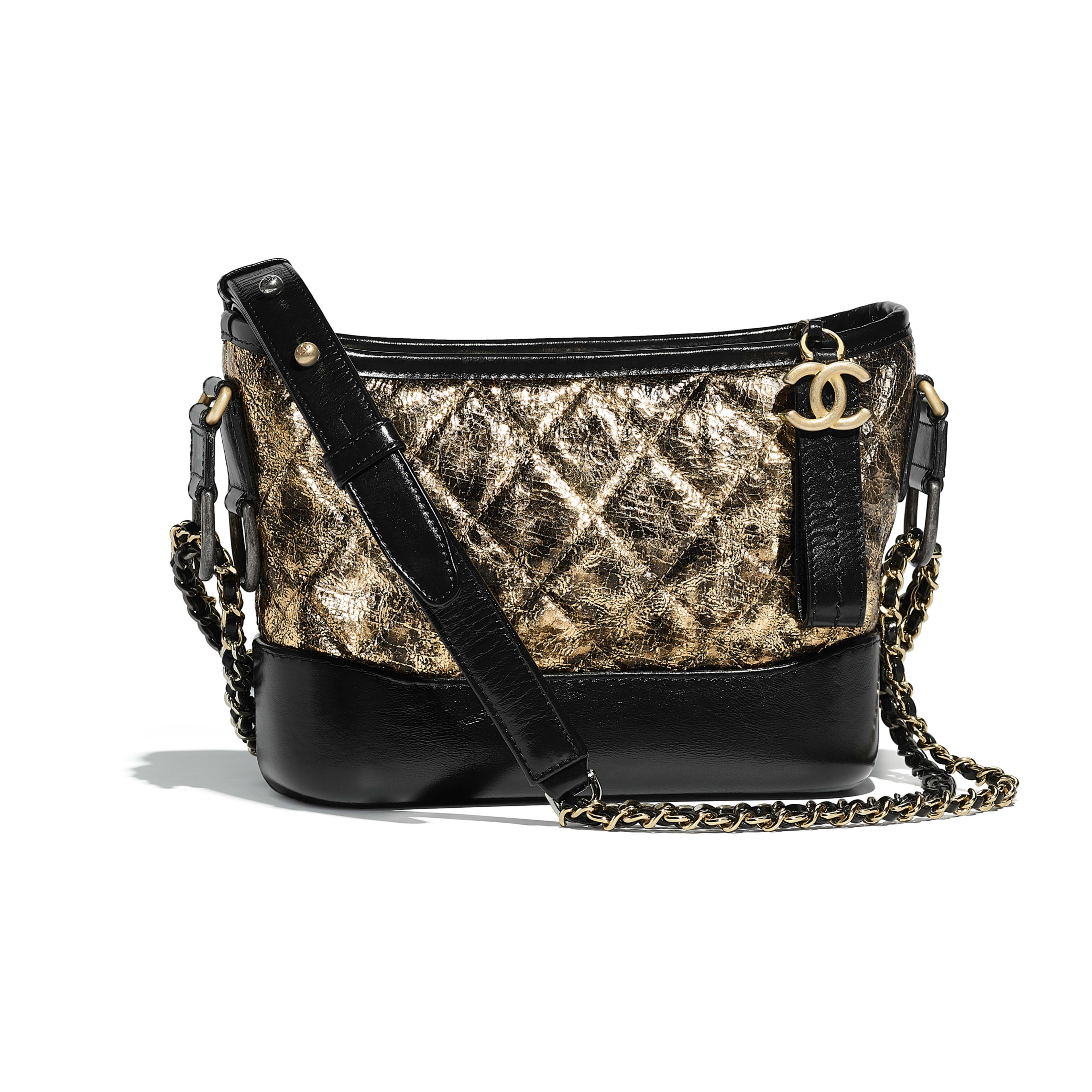 Chanel S Gabrielle Small Hobo Bag Black Gold Metallic Crumpled Goatskin Calfskin