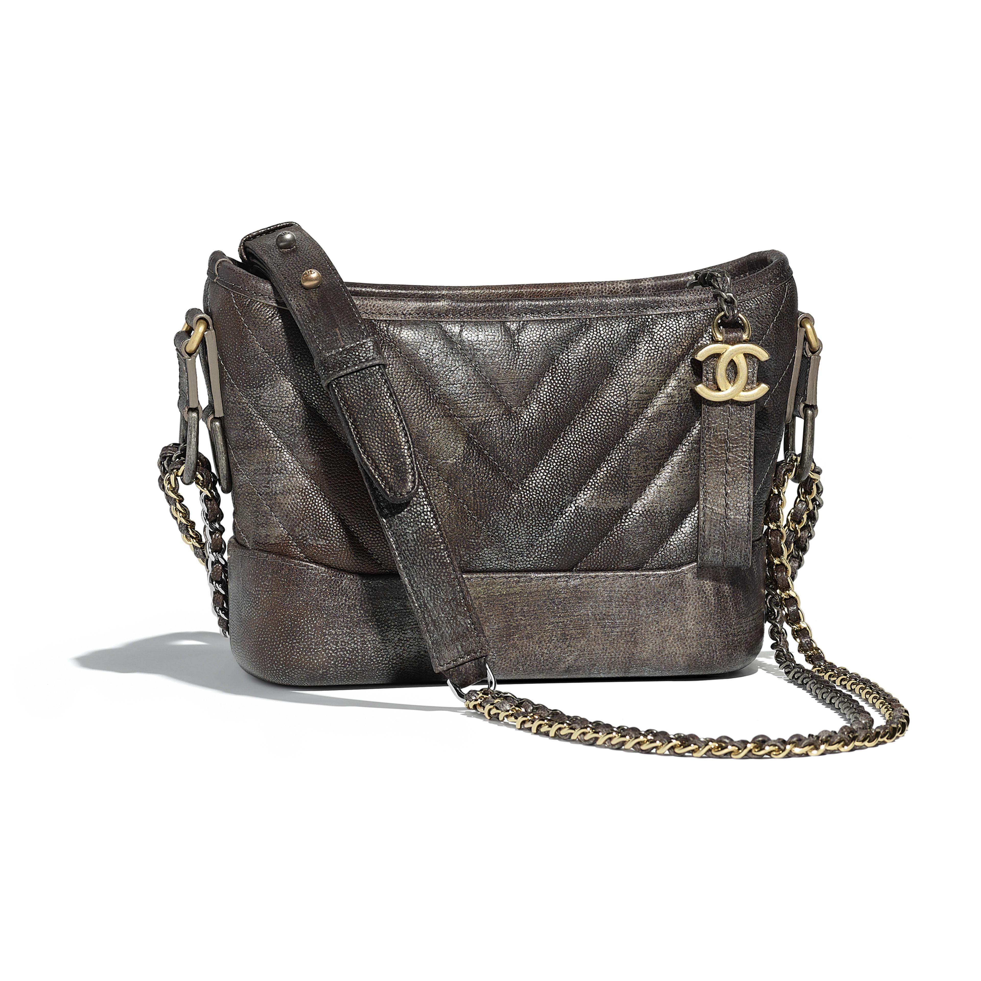 Chanel S Gabrielle Small Hobo Bag Dark Silver Gold Metallic Grained Goatskin