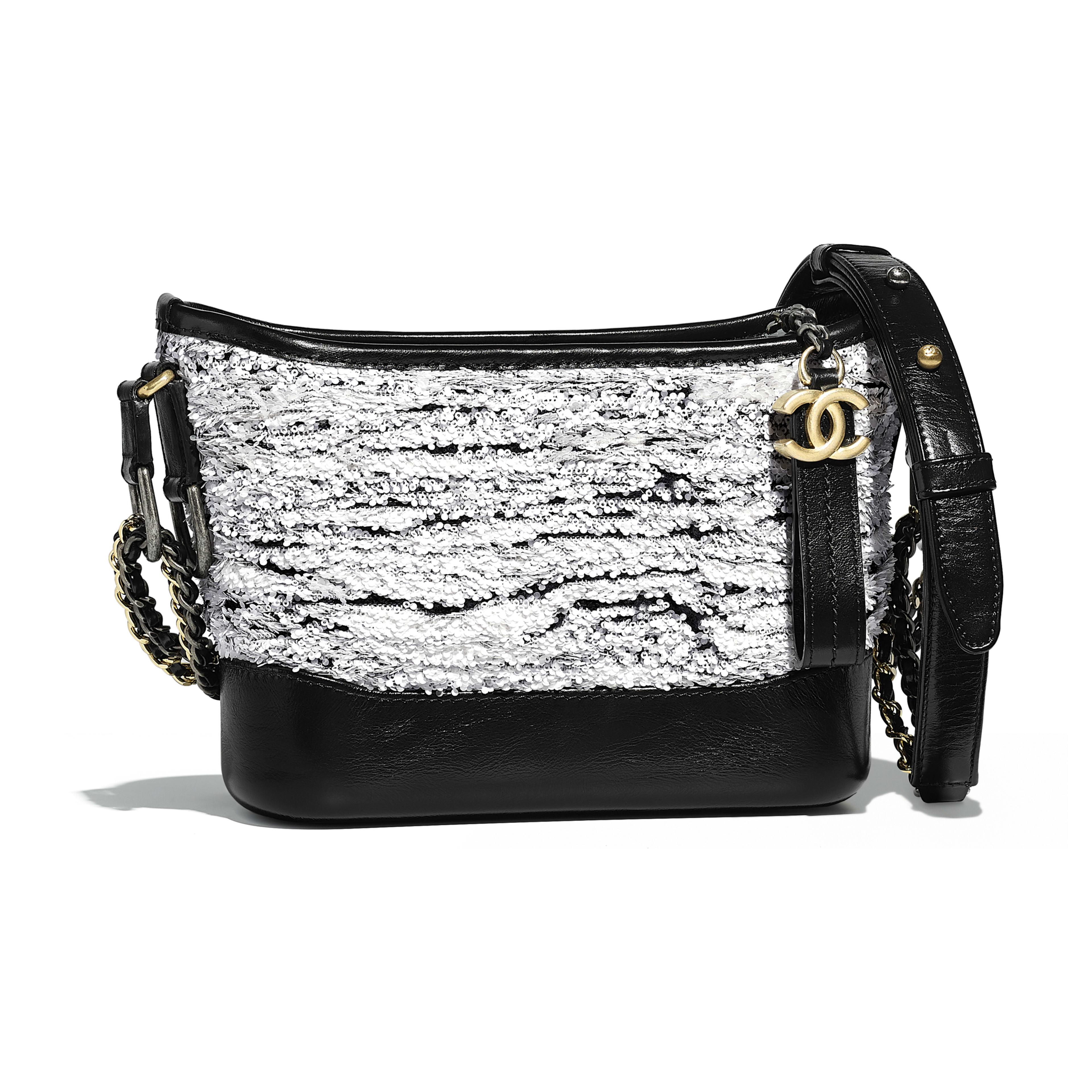 Chanel S Gabrielle Small Hobo Bag White Black Sequins Wool Calfskin