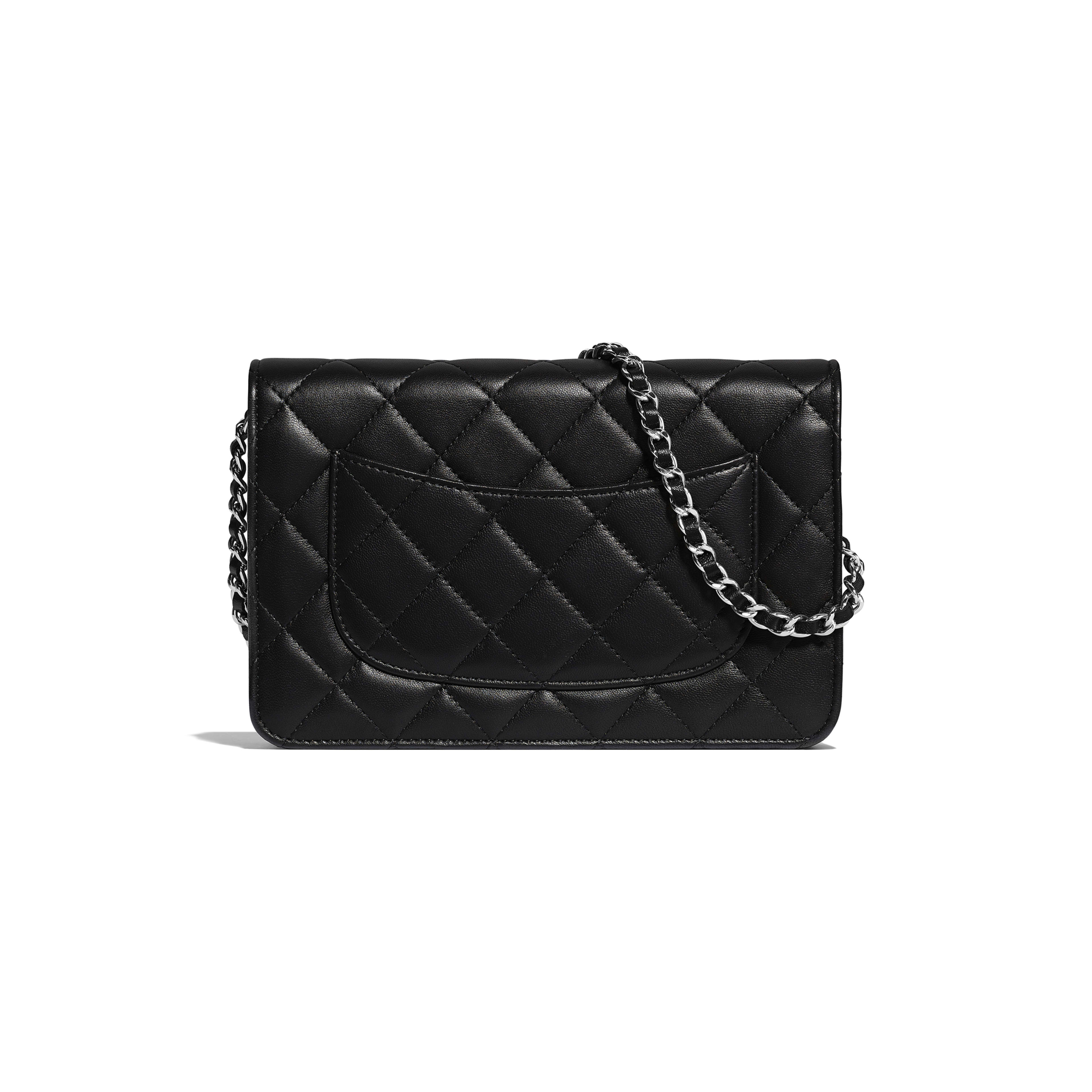 Classic Wallet on Chain - Black - Lambskin & Silver-Tone Metal - Alternative view - see full sized version