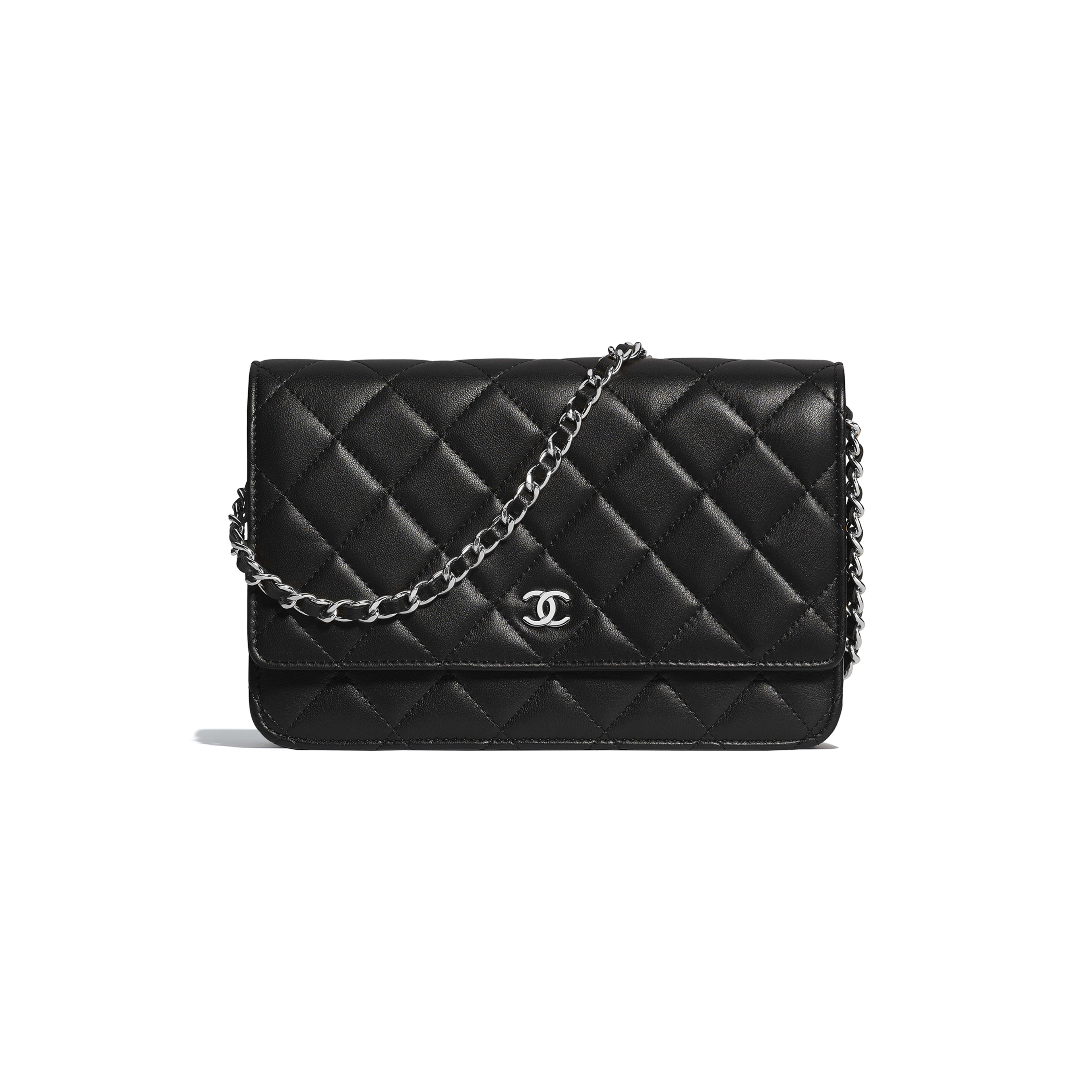 Classic Wallet on Chain - Black - Lambskin & Silver-Tone Metal - Default view - see full sized version