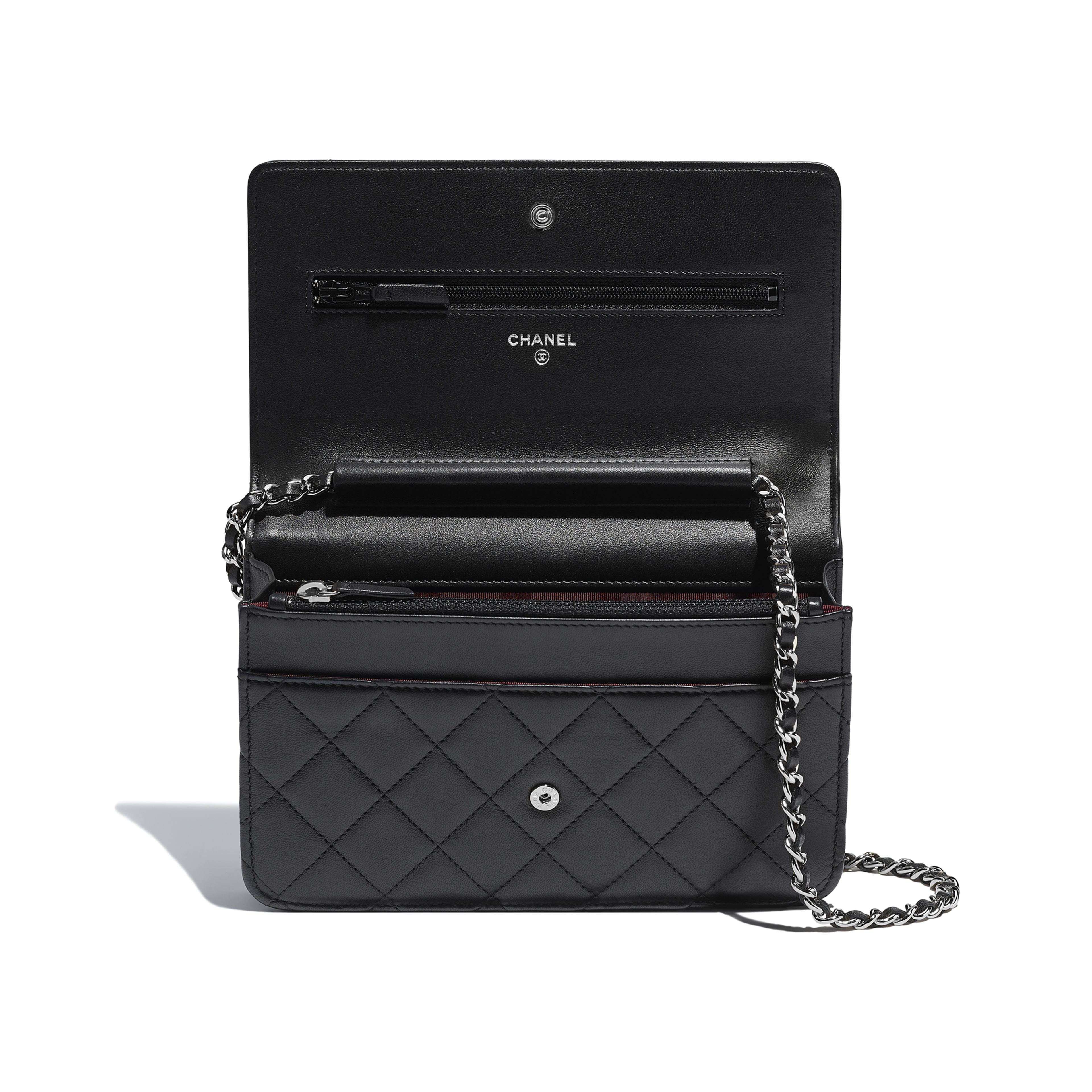 Classic Wallet on Chain - Black - Lambskin & Silver-Tone Metal - Other view - see full sized version