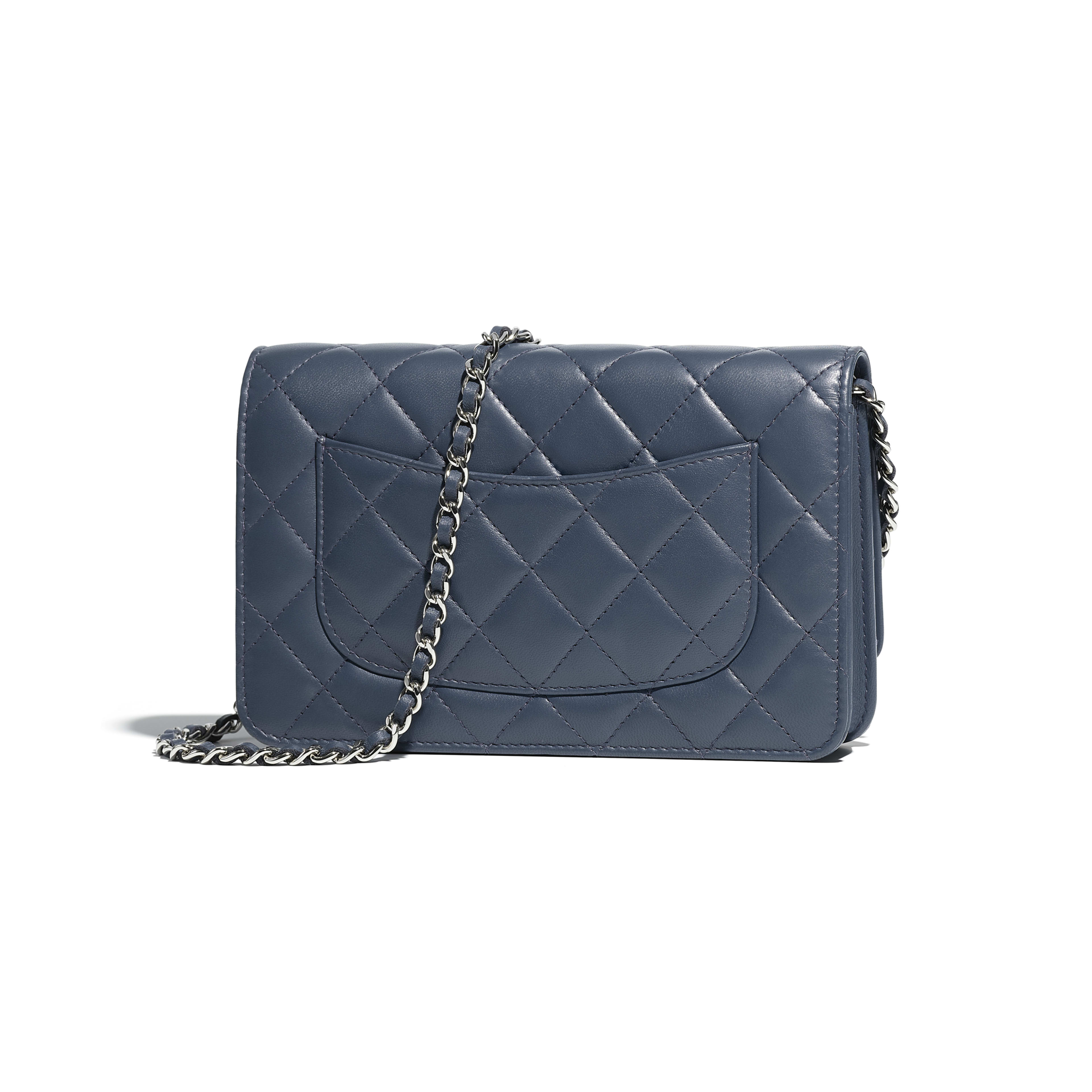 Classic Wallet on Chain - Blue - Lambskin & Silver-Tone Metal - Alternative view - see full sized version