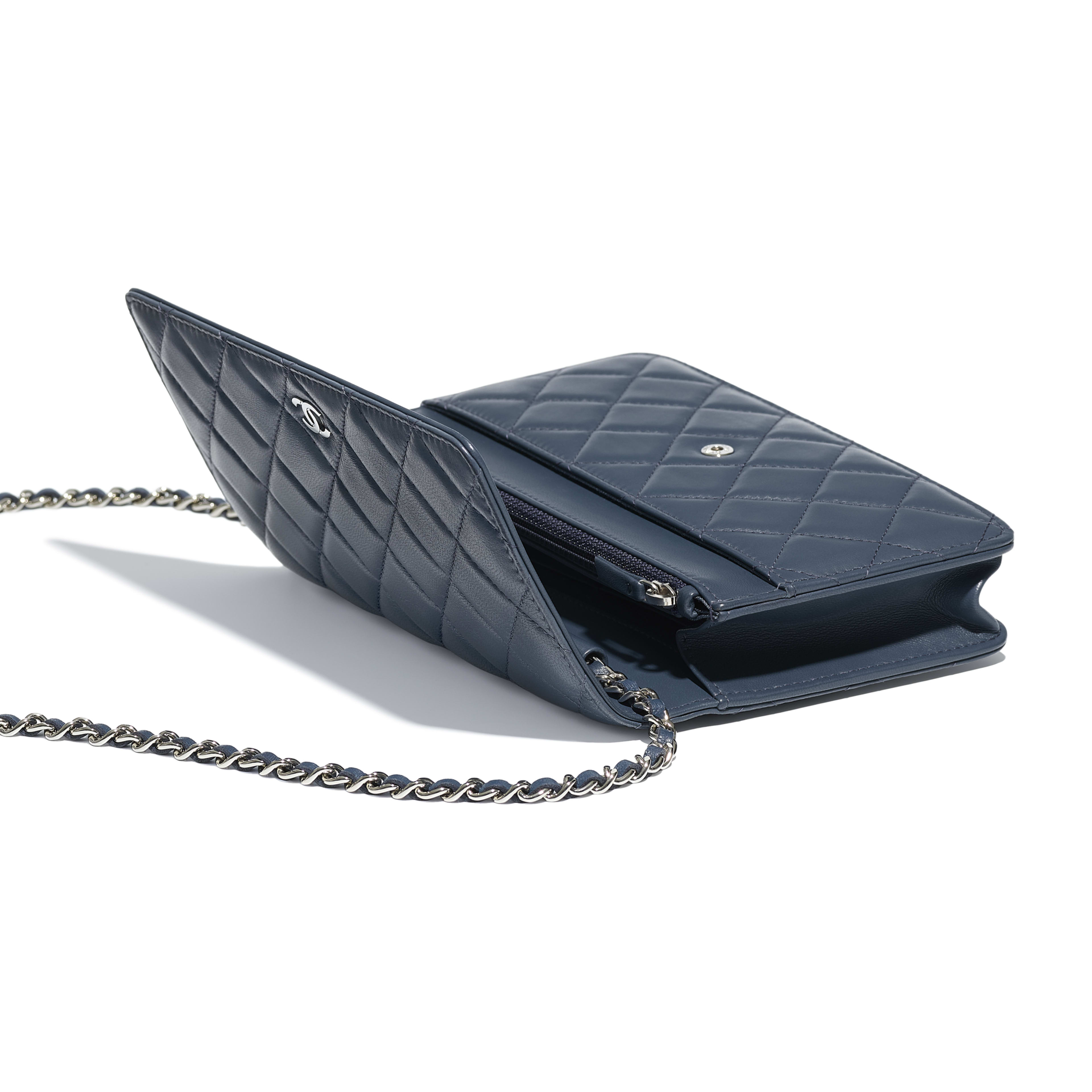 Classic Wallet on Chain - Blue - Lambskin & Silver-Tone Metal - Other view - see full sized version