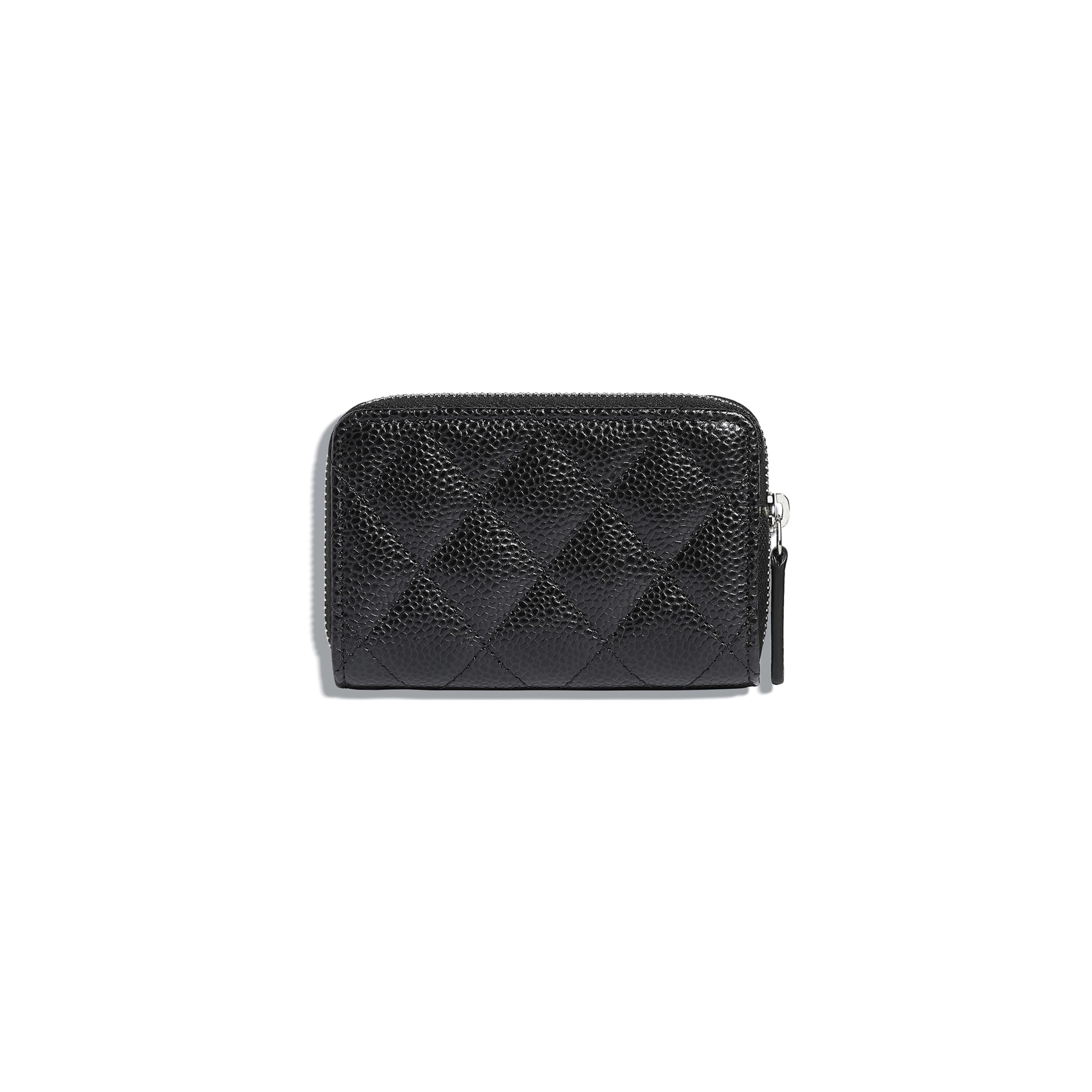 Classic Zipped Coin Purse - Black - Grained Calfskin & Silver-Tone Metal - Alternative view - see full sized version