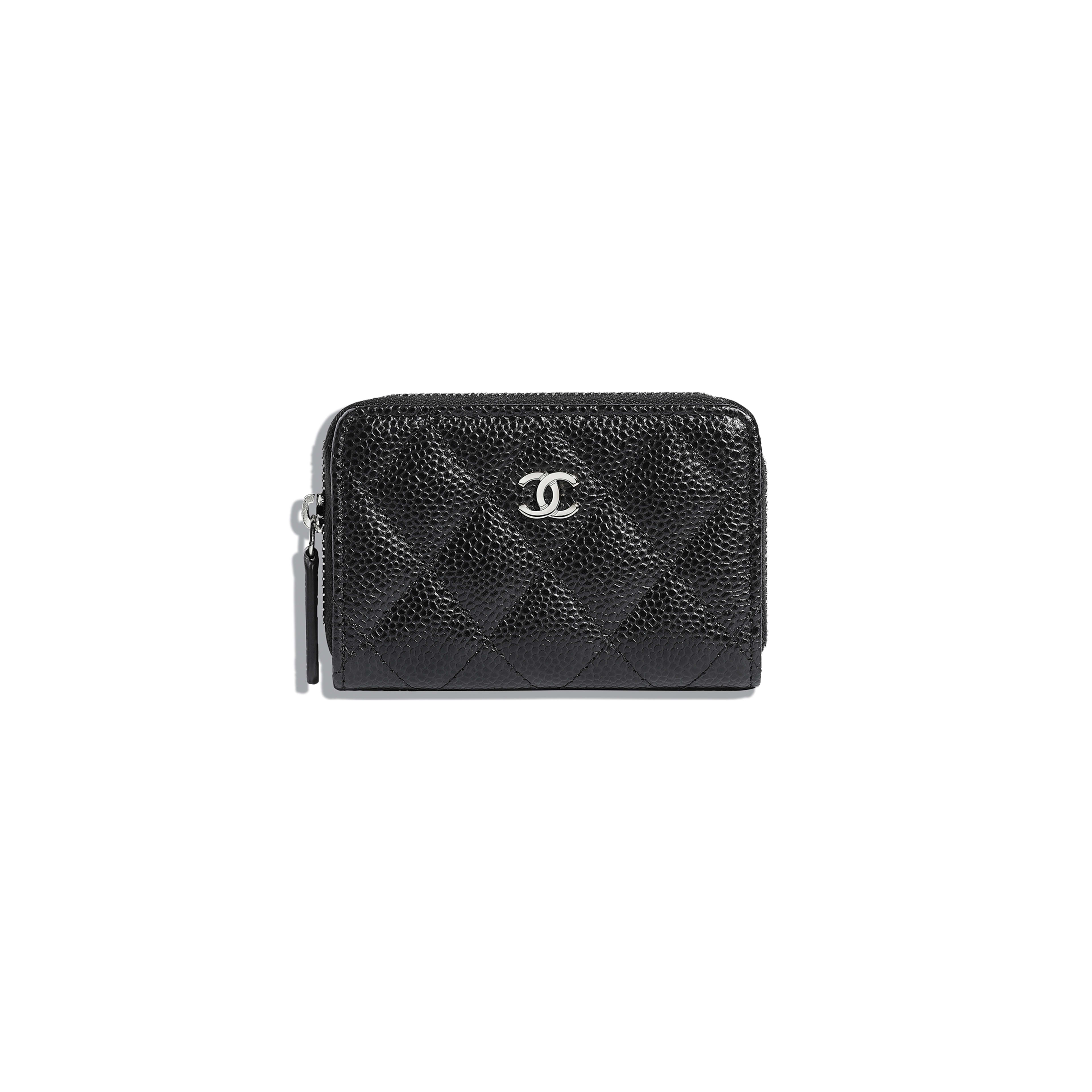 Classic Zipped Coin Purse - Black - Grained Calfskin & Silver-Tone Metal - Default view - see full sized version