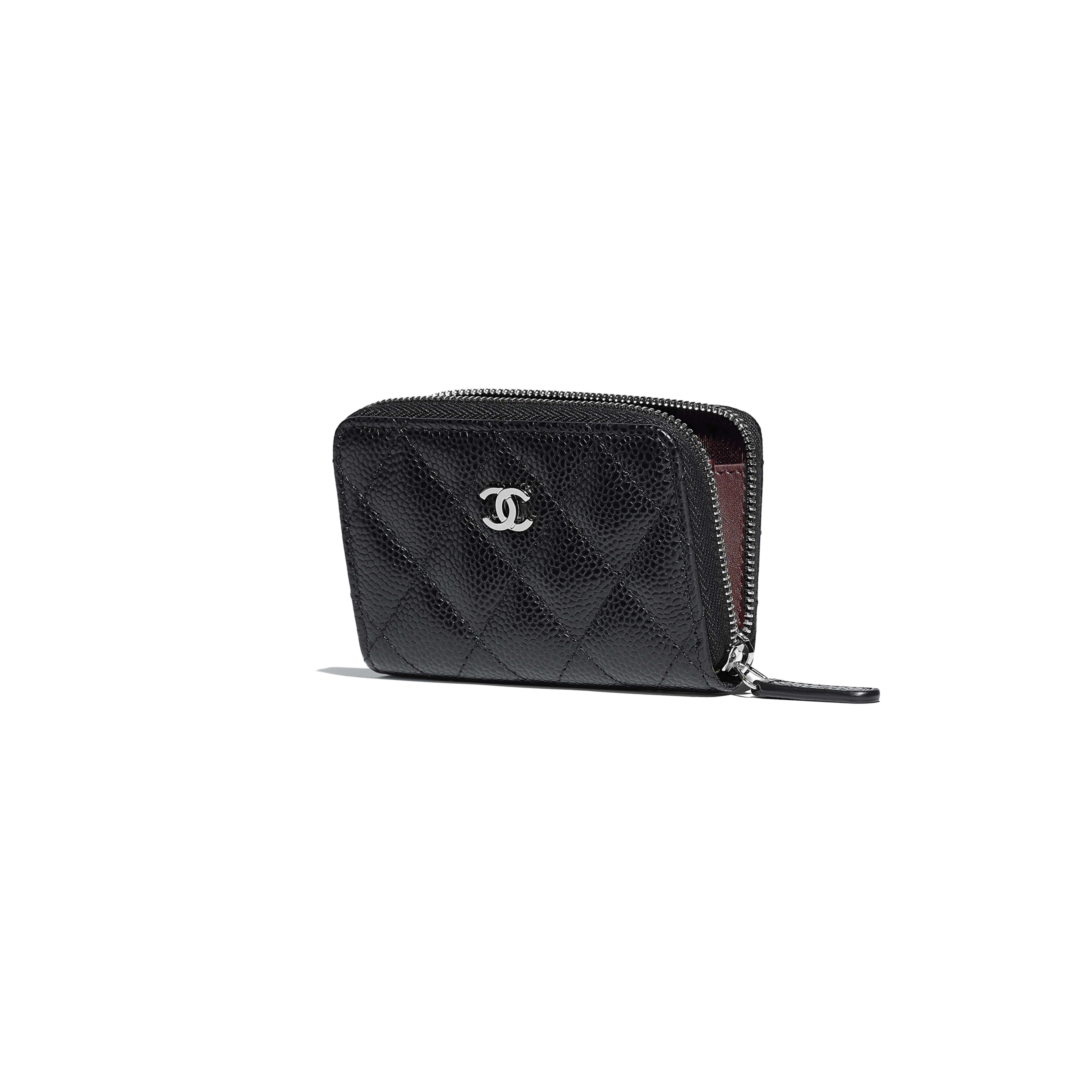Classic Zipped Coin Purse - Black - Grained Calfskin & Silver-Tone Metal - Other view - see full sized version