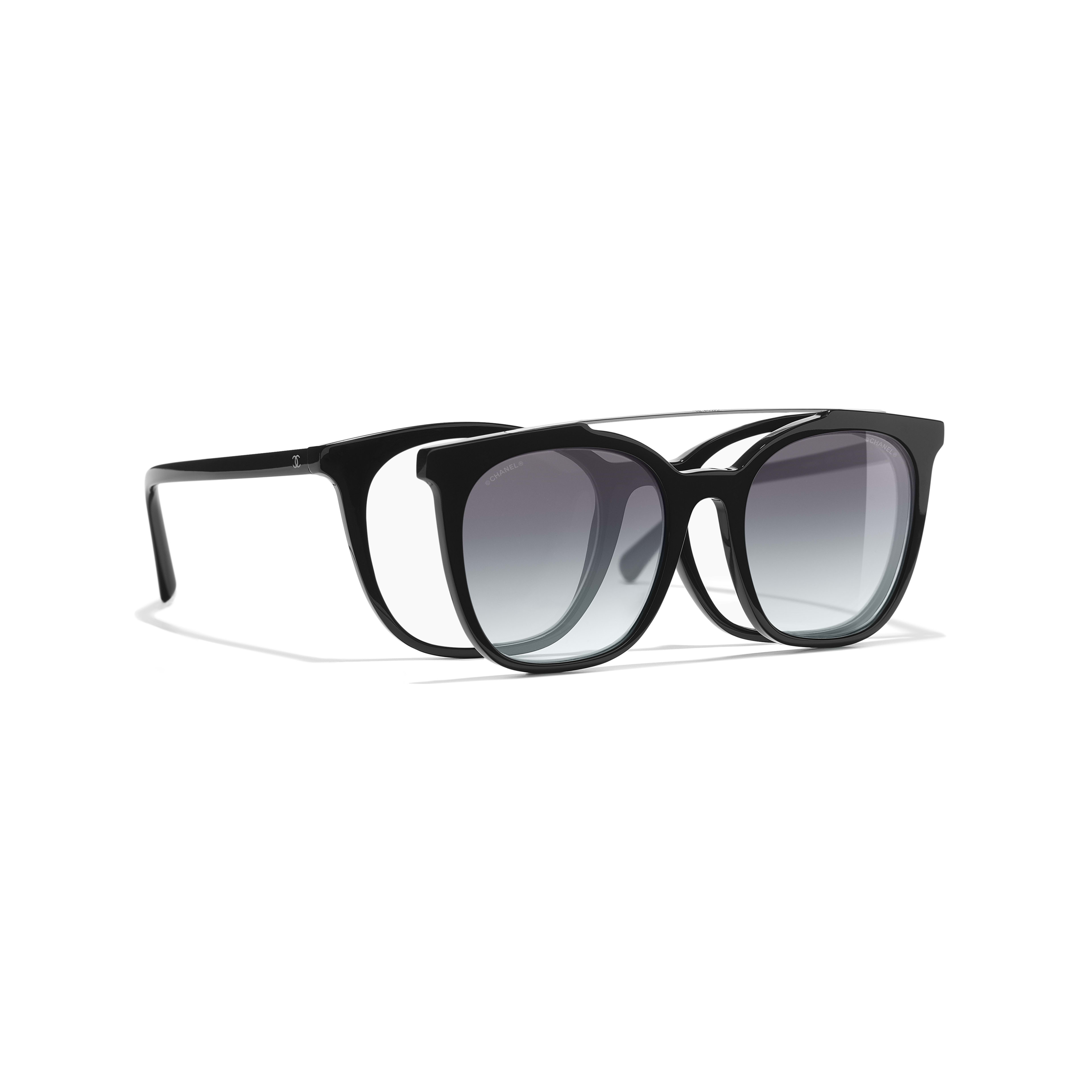 Clip on Sunglasses Acetate & Metal Black -                                               view 1 - see full sized version