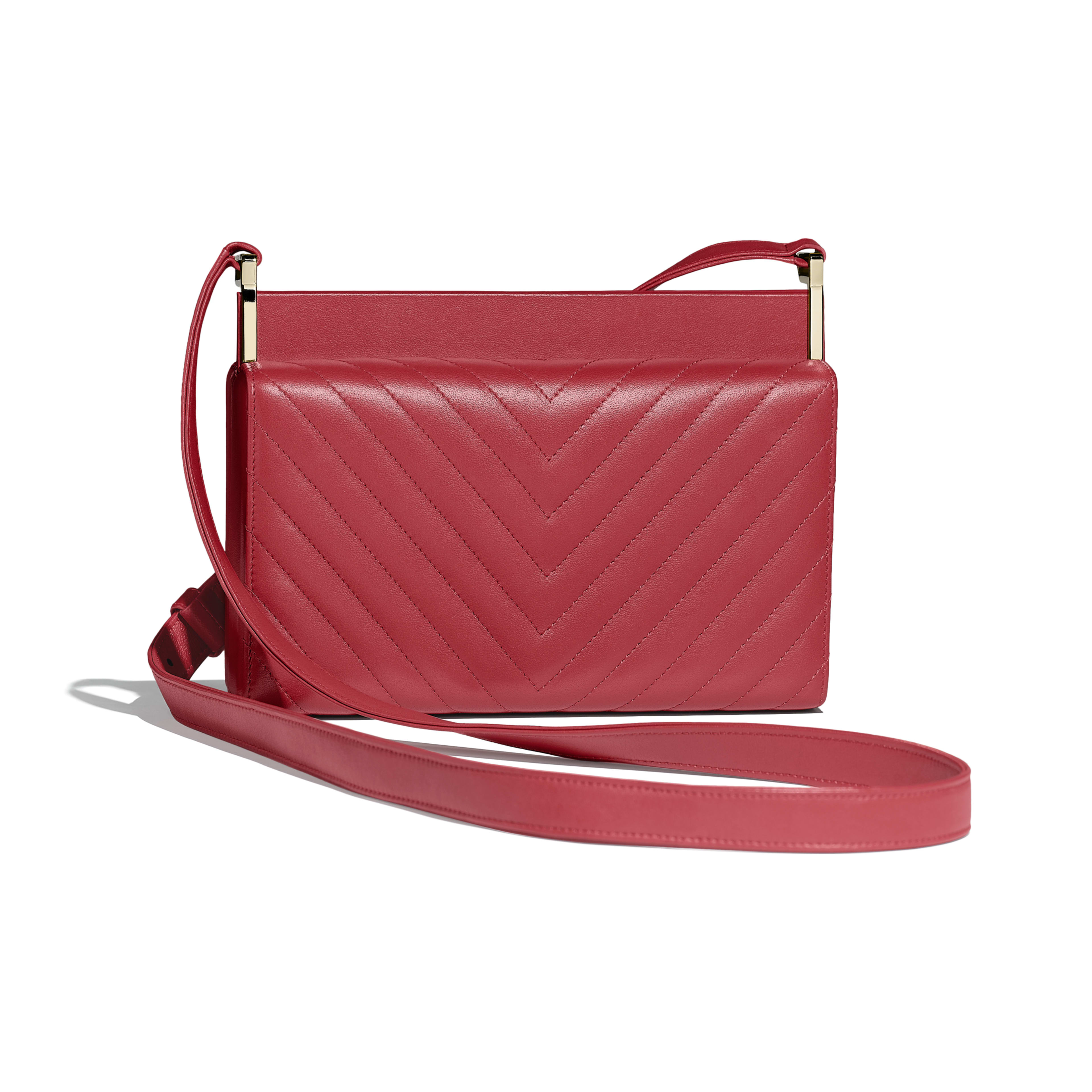 Clutch - Red - Lambskin & Gold-Tone Metal - Alternative view - see full sized version