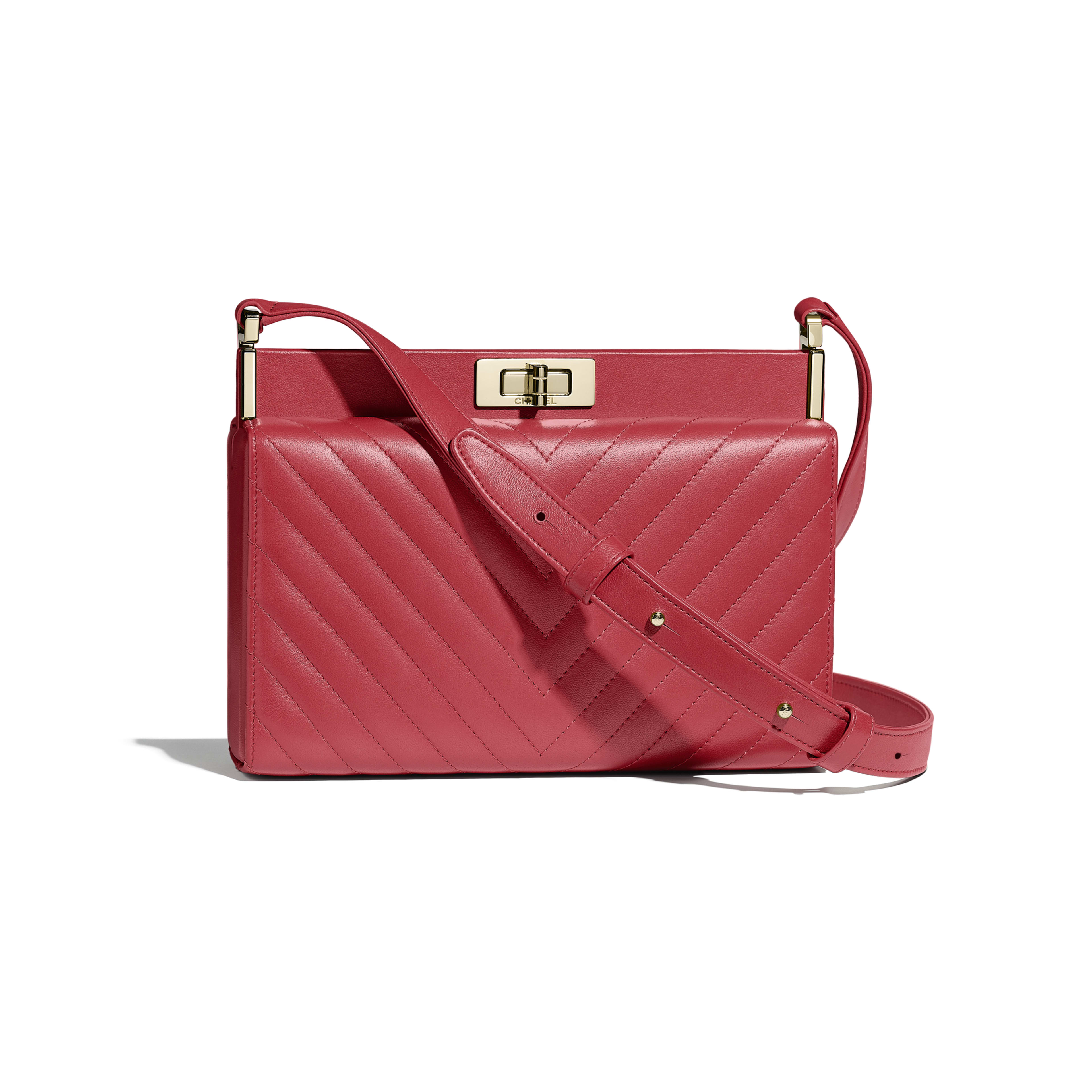 Clutch - Red - Lambskin & Gold-Tone Metal - Default view - see full sized version