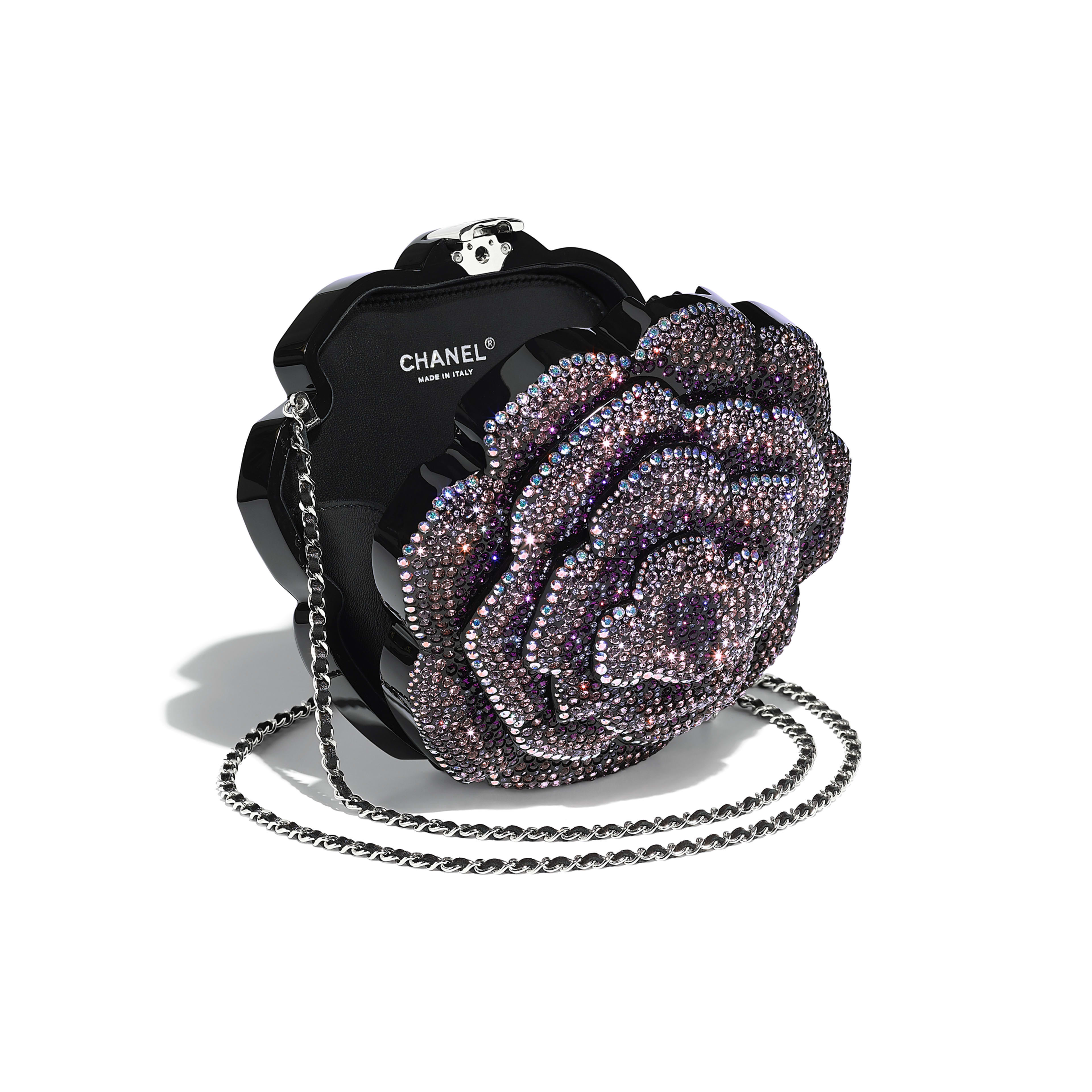 Evening Bag Black Purple Resin Strass Silver Tone Metal
