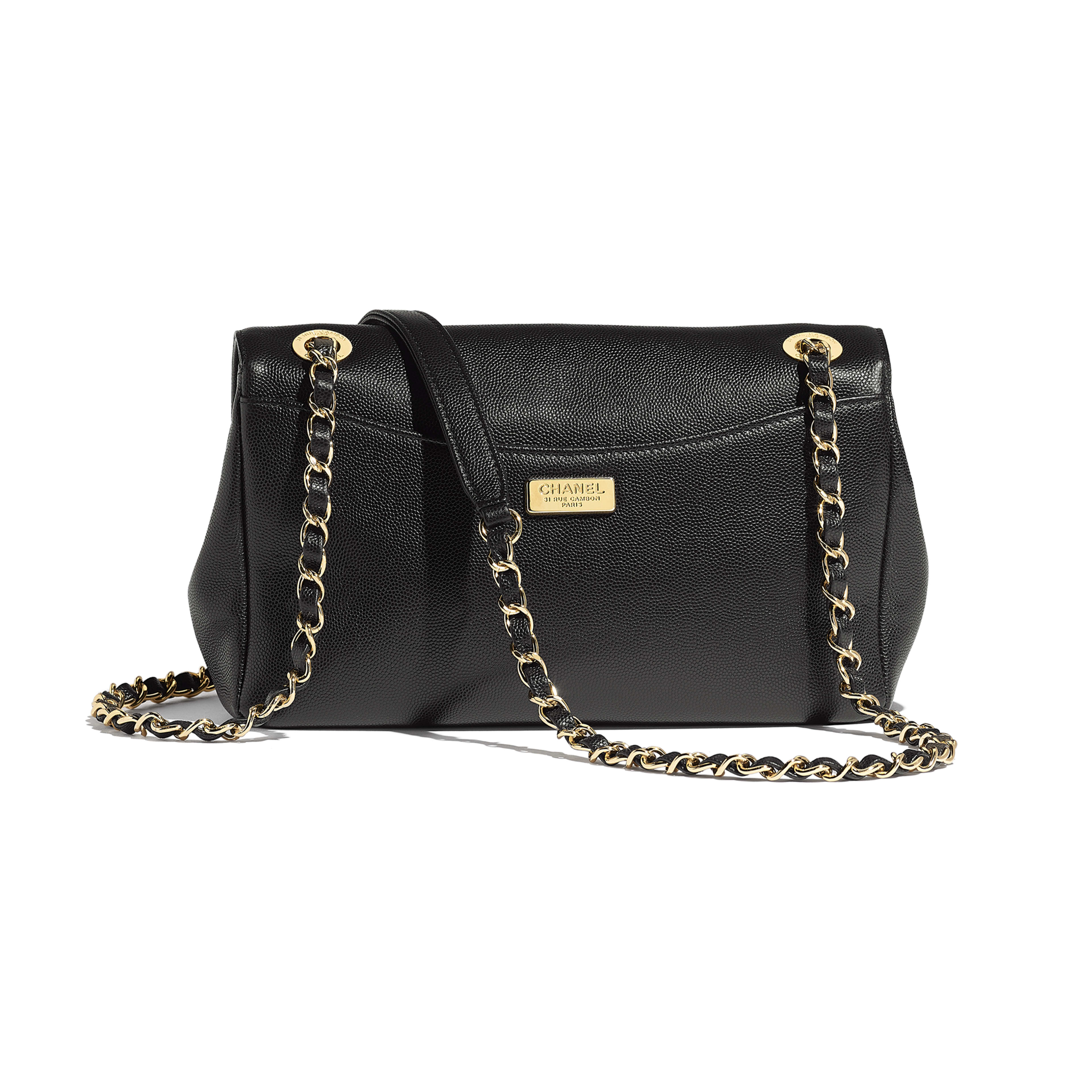 Flap Bag - Black - Embroidered Grained Calfskin & Gold-Tone Metal - Alternative view - see full sized version