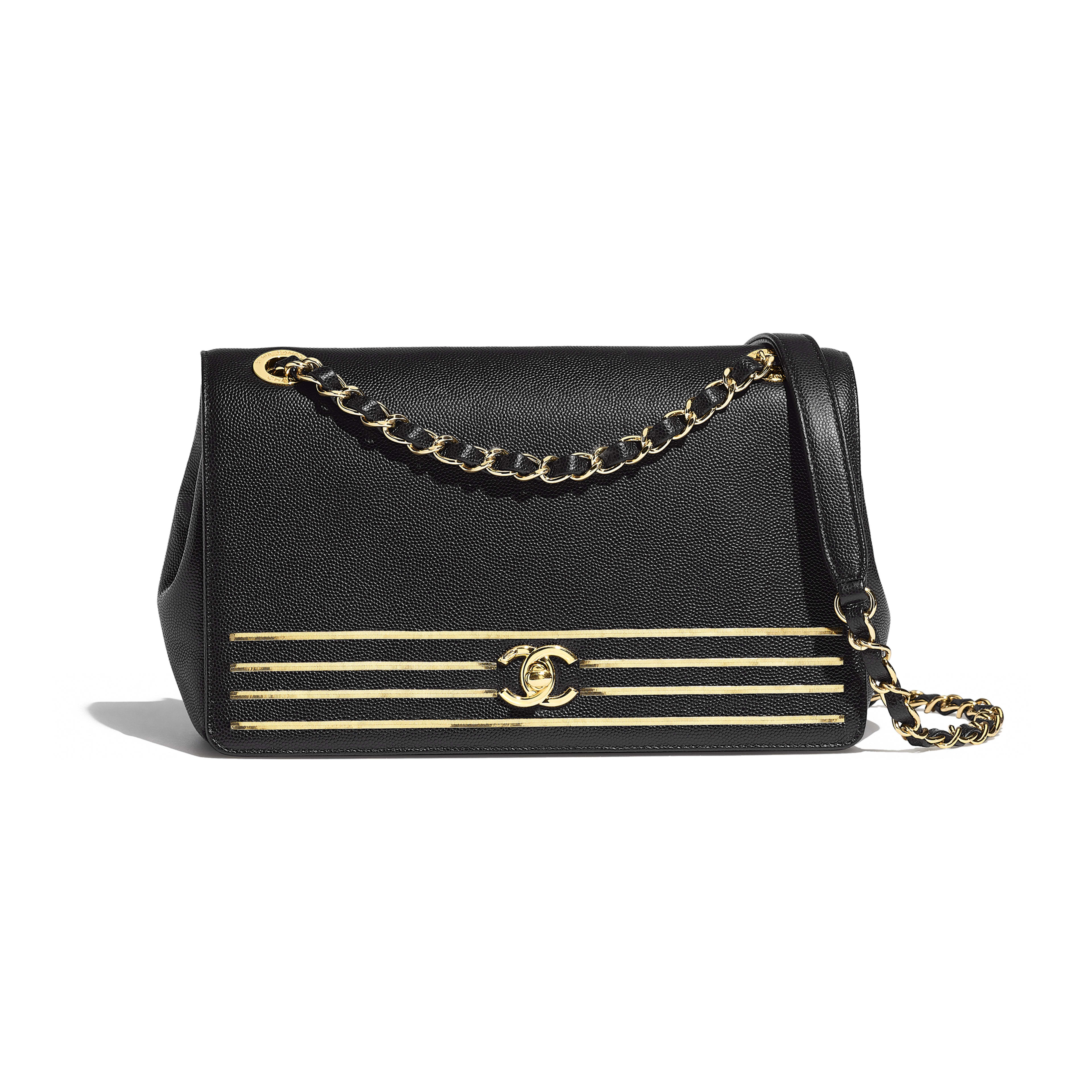 Flap Bag - Black - Embroidered Grained Calfskin & Gold-Tone Metal - Default view - see full sized version