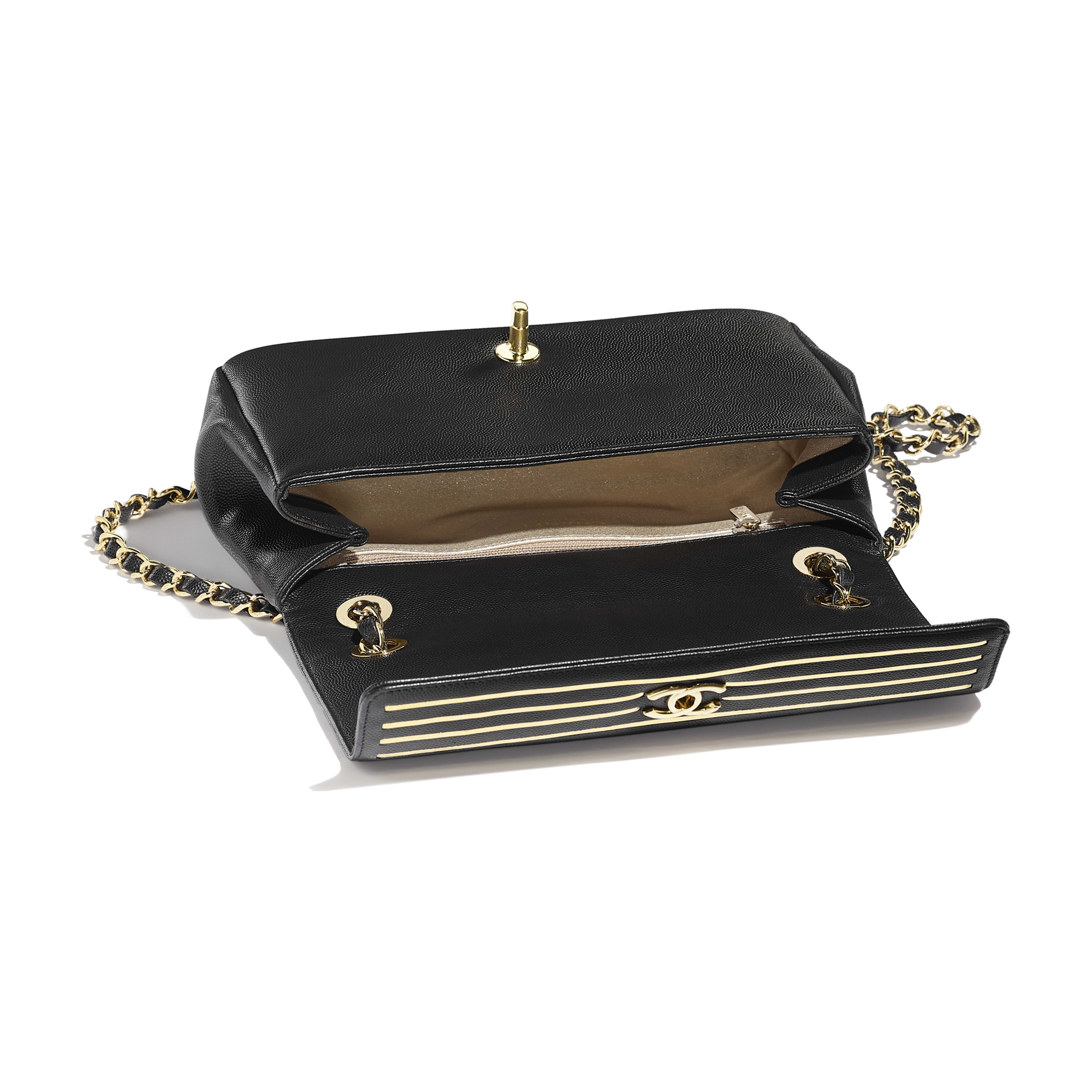 Flap Bag - Black - Embroidered Grained Calfskin & Gold-Tone Metal - Other view - see full sized version