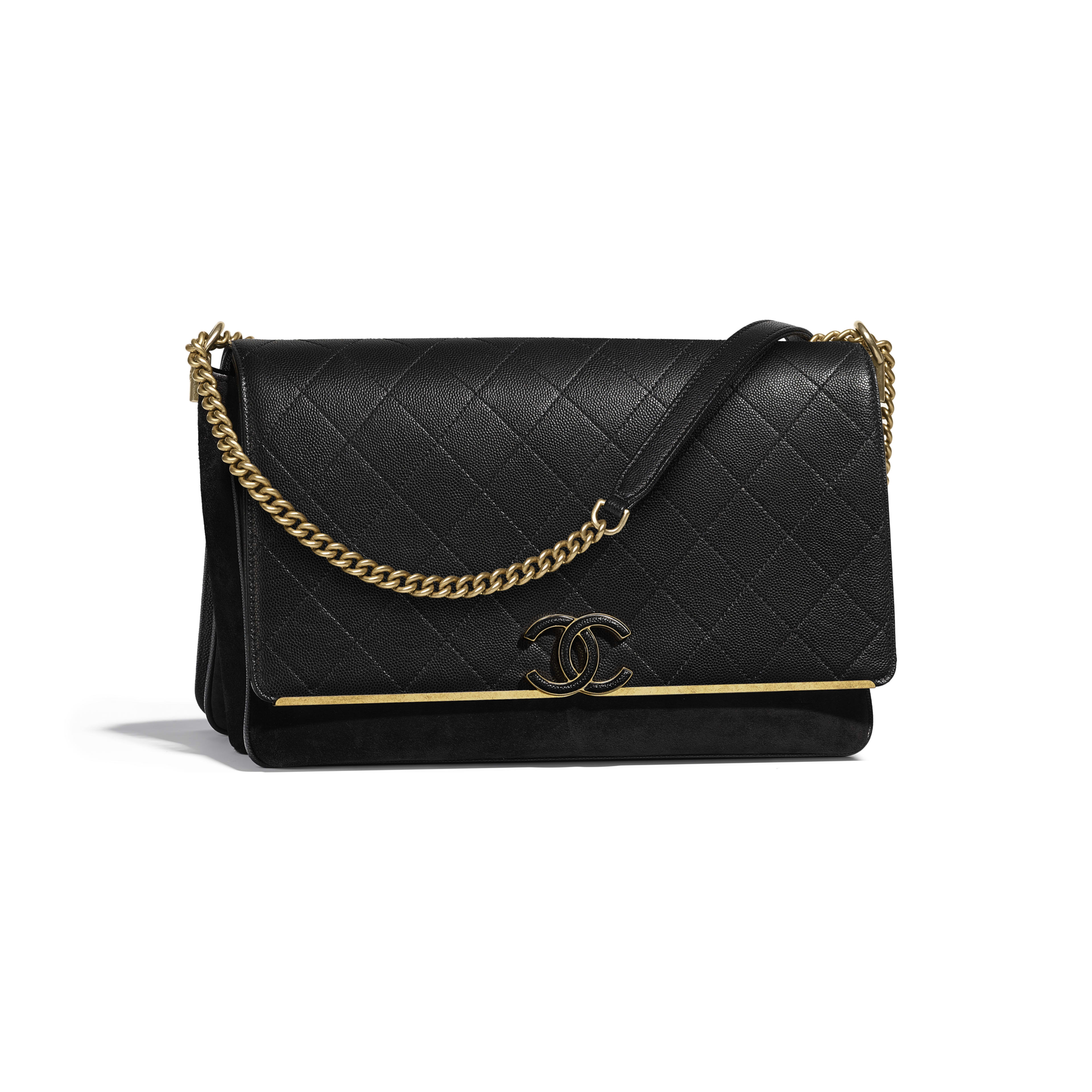 Flap Bag Black Grained Calfskin Suede Gold Tone Metal