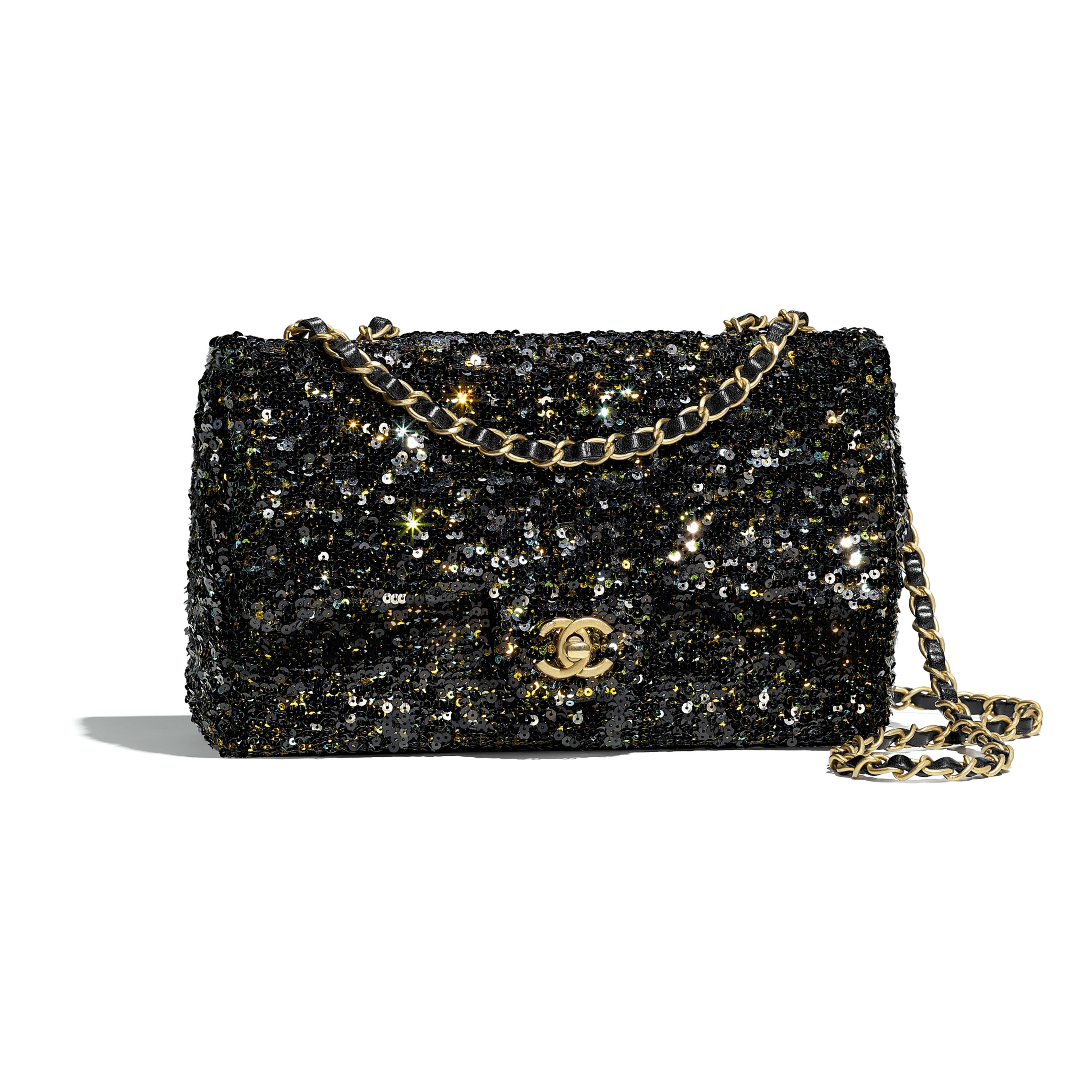 Flap Bag Black Sequins Gold Tone Metal Default View See