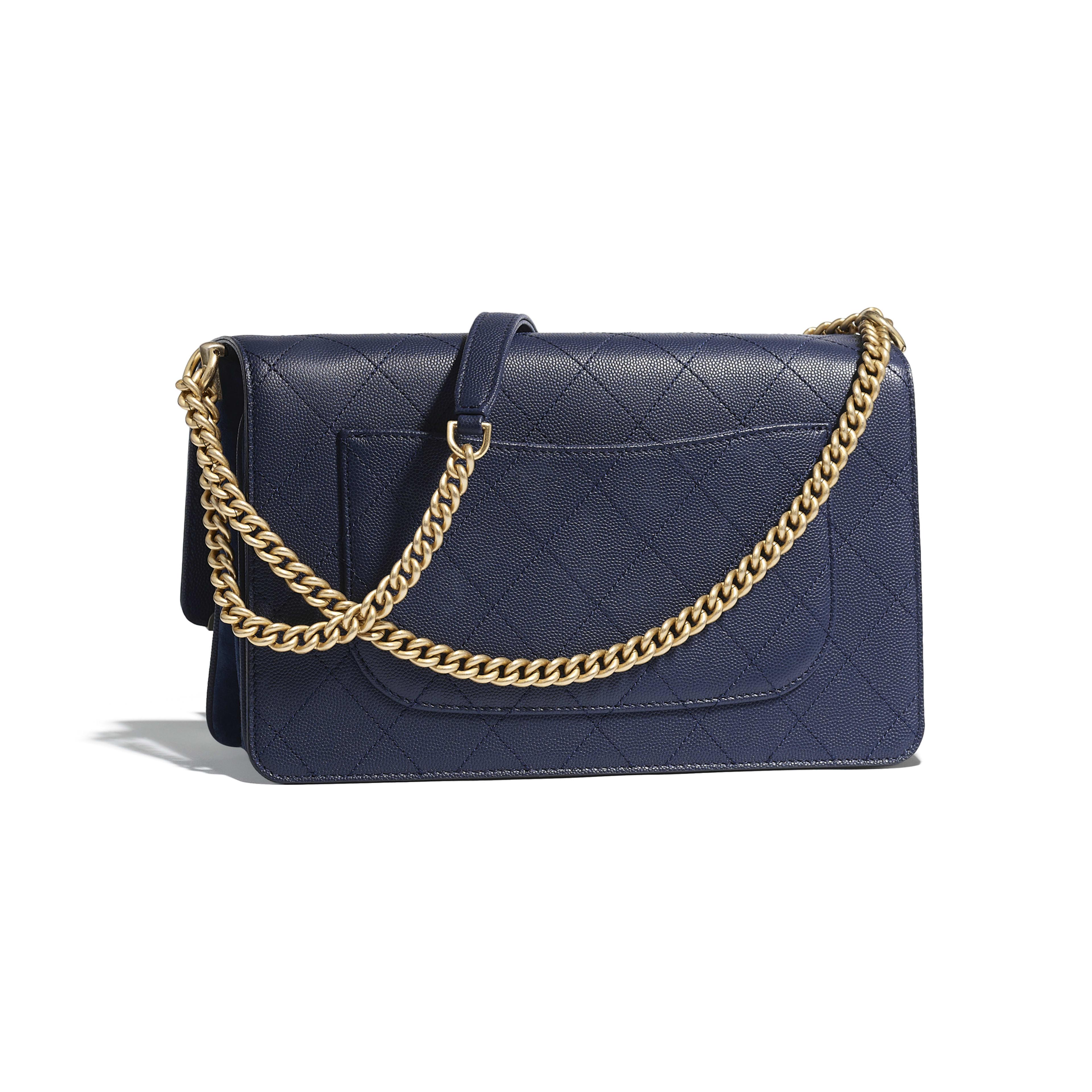 Flap Bag Navy Blue Grained Calfskin Suede Gold Tone Metal