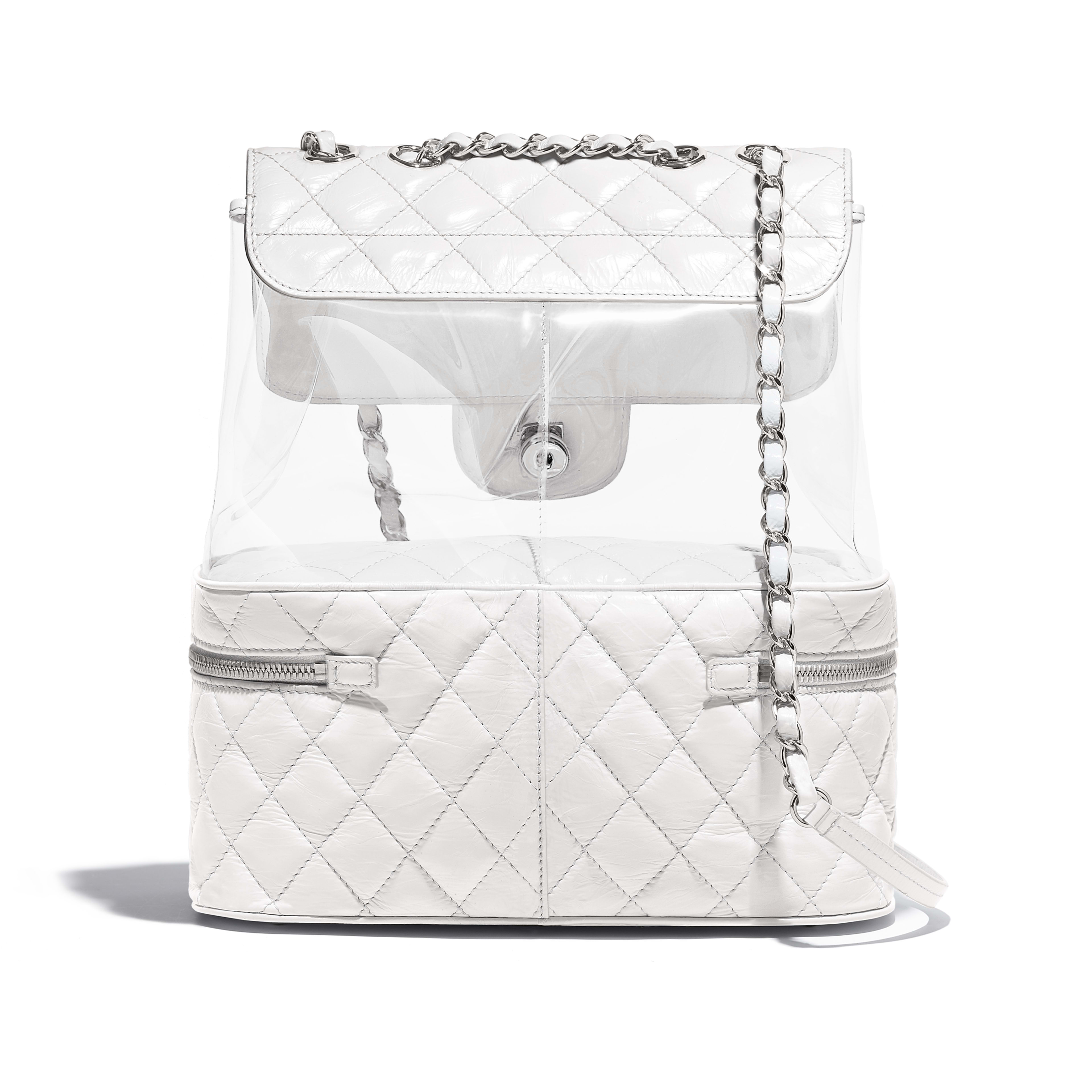Flap Bag Crumpled Calfskin, PVC, Resin & Silver-Tone Metal White -                                       view 2 - see full sized version