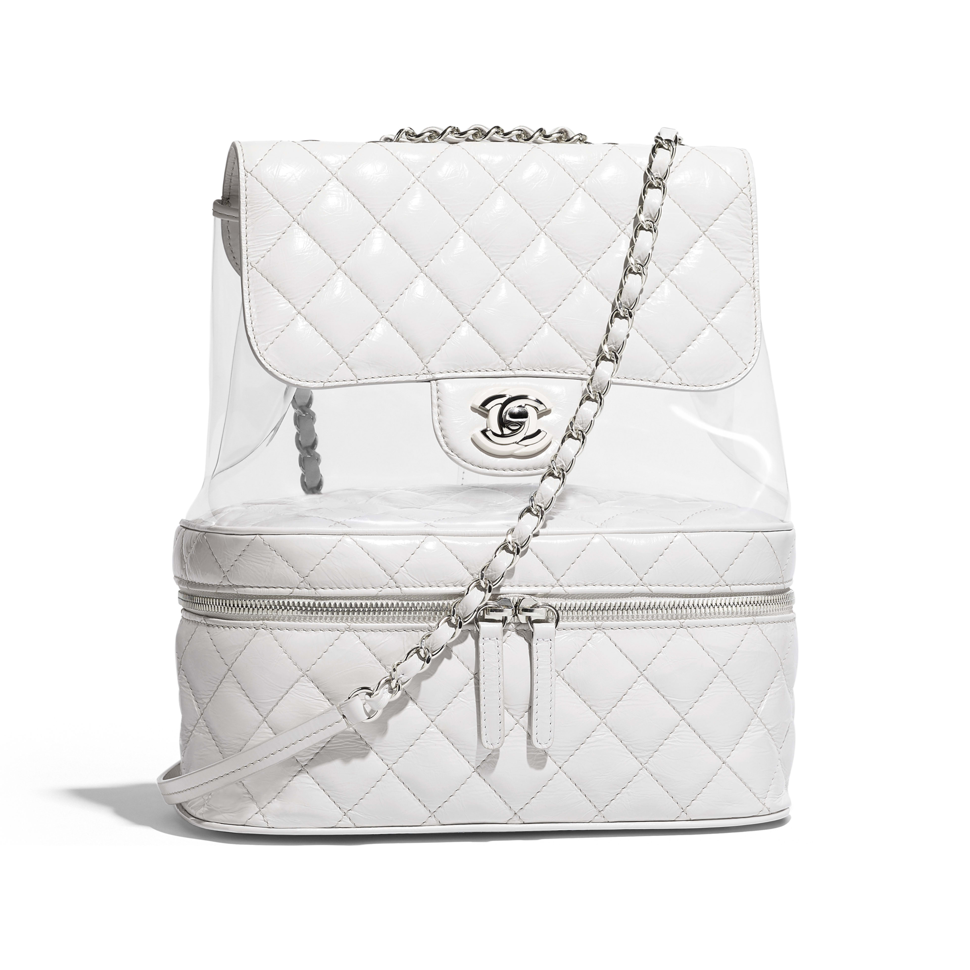 Flap Bag Crumpled Calfskin, PVC, Resin & Silver-Tone Metal White -                                  view 1 - see full sized version