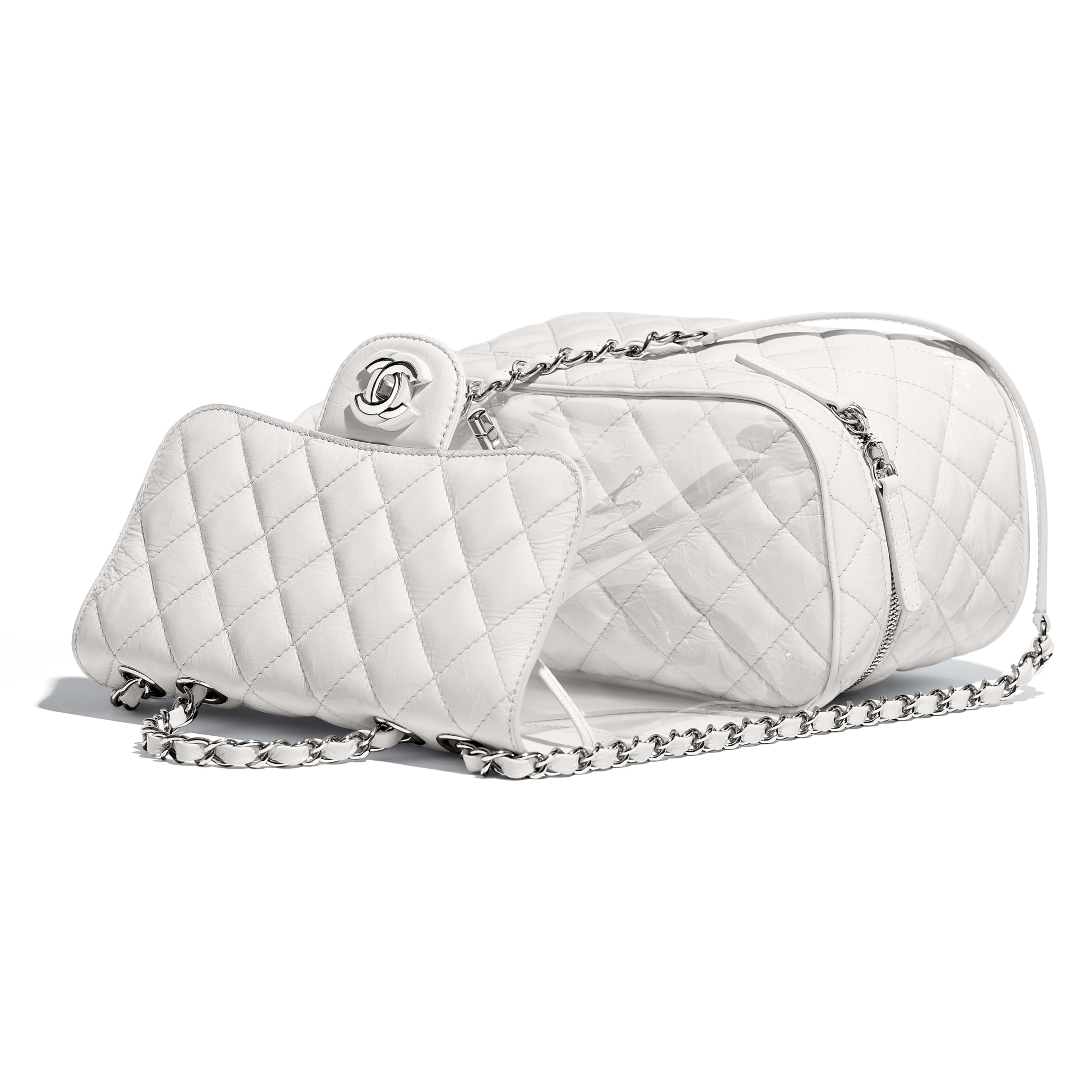 Flap Bag Crumpled Calfskin, PVC, Resin & Silver-Tone Metal White -                                            view 3 - see full sized version