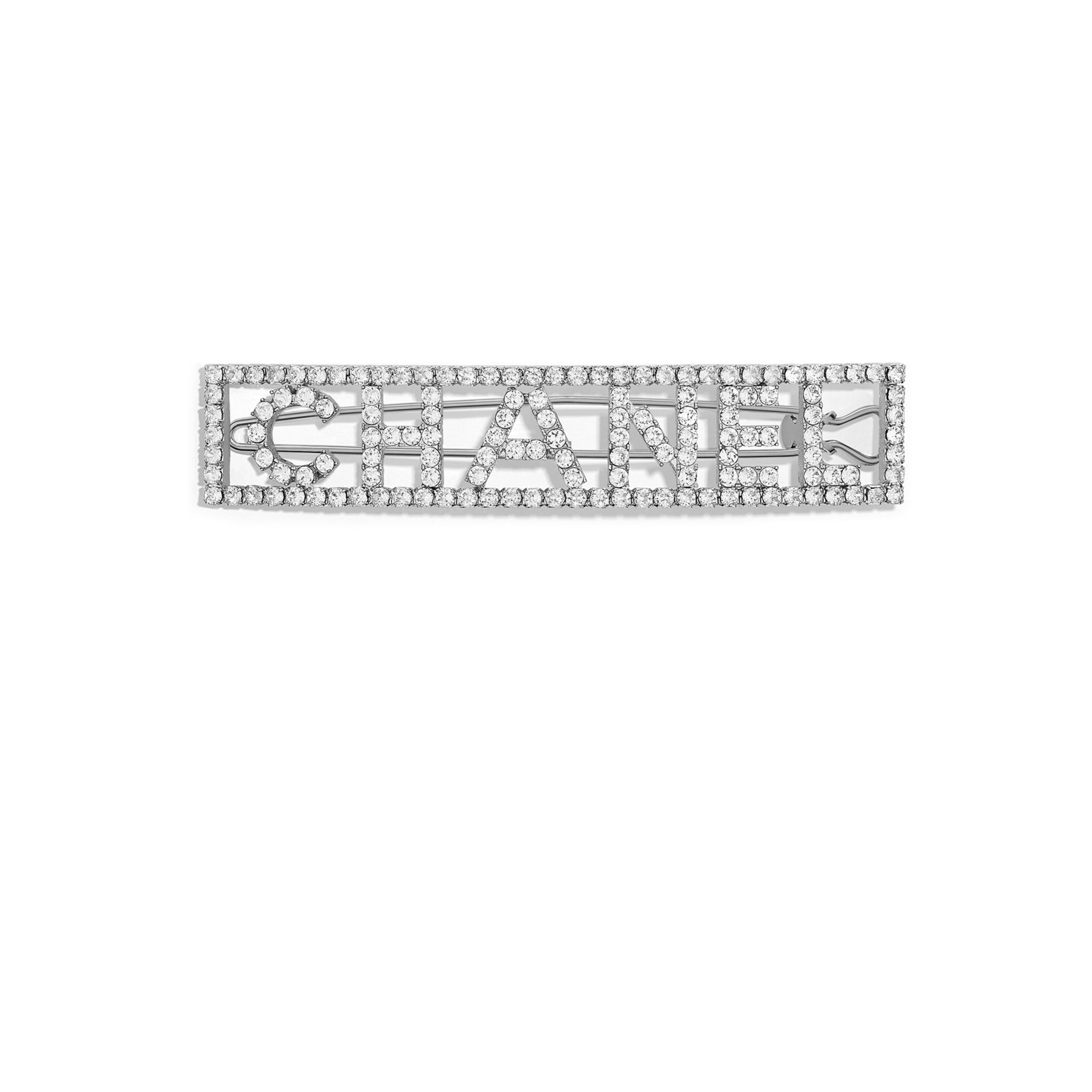 Hair Clip Metal & Strass Silver & Crystal -                                  view 1 - see full sized version