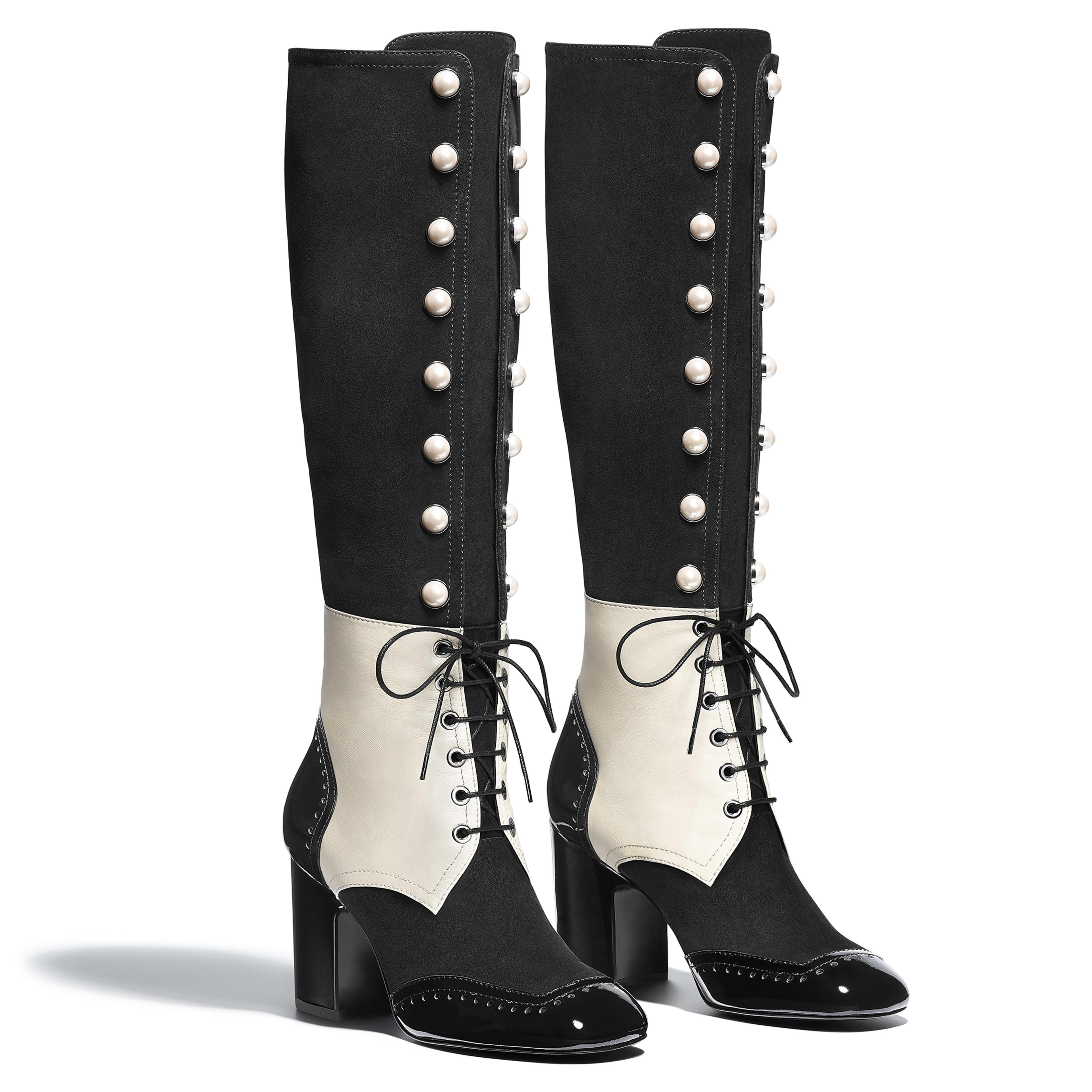 High Boots - Black & Ecru - Suede Goatskin, Lambskin & Patent Calfskin - Alternative view - see full sized version