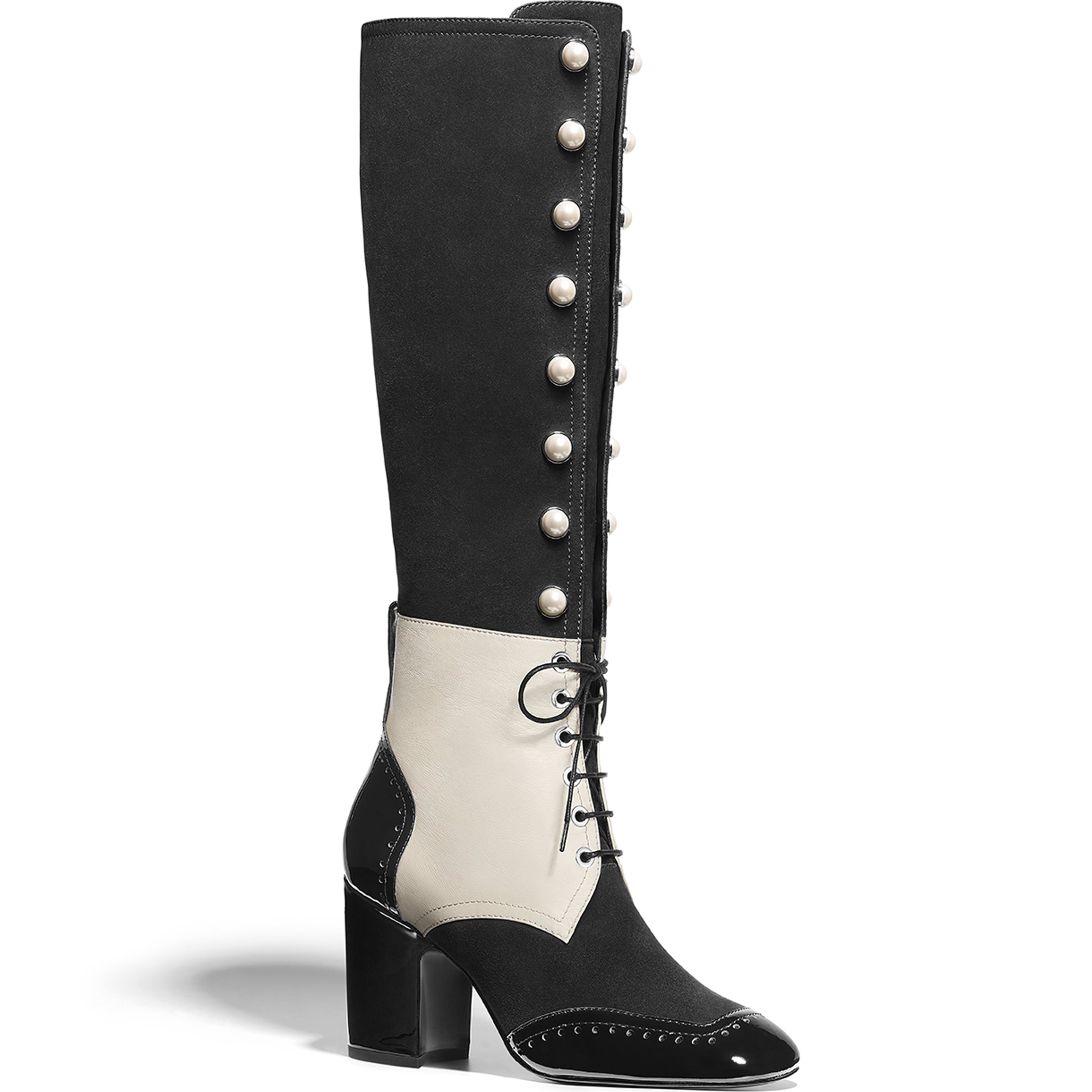 High Boots - Black & Ecru - Suede Goatskin, Lambskin & Patent Calfskin - Default view - see full sized version