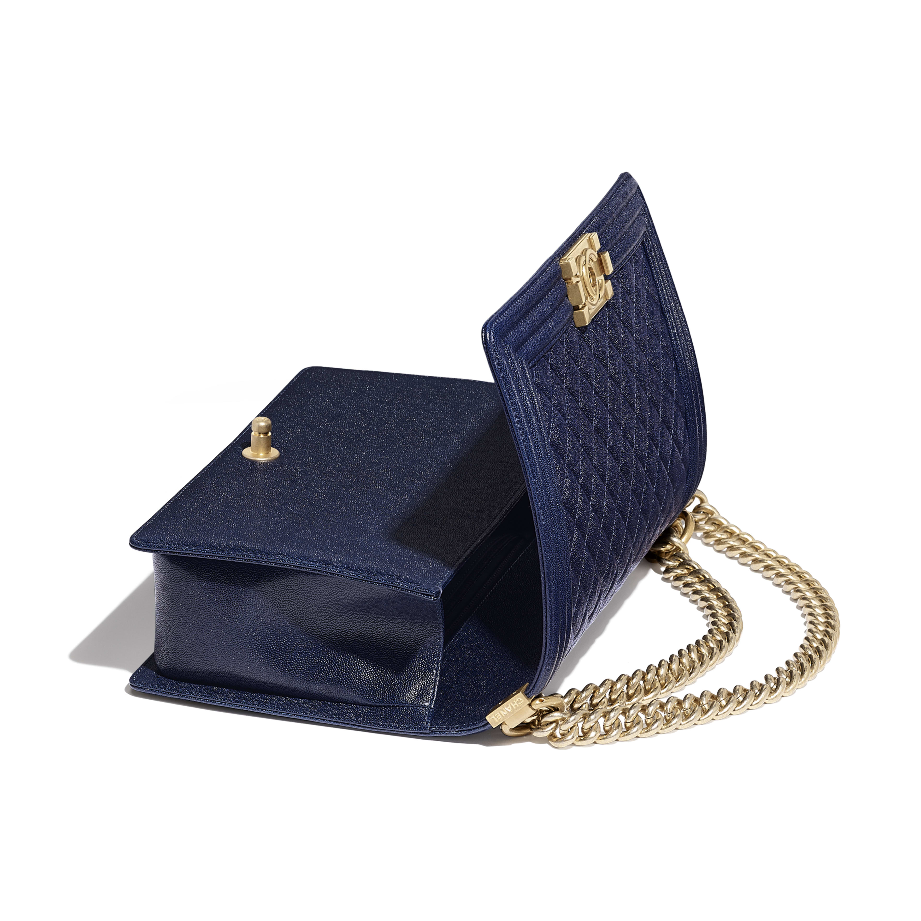 Large BOY CHANEL Handbag - Blue - Grained Calfskin & Gold-Tone Metal - Other view - see full sized version