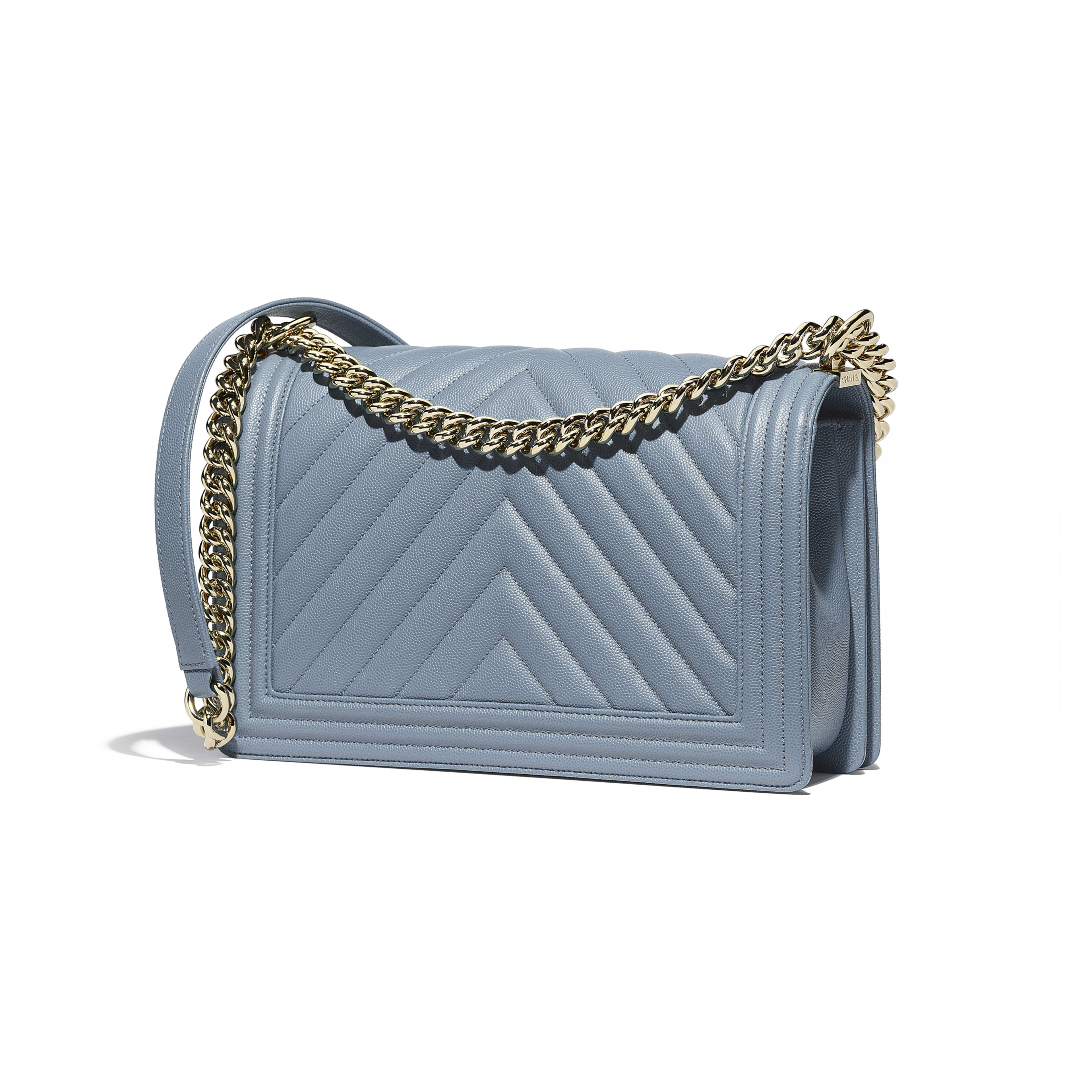 48e03ec9e52ca6 Grained Calfskin & Gold-Tone Metal Blue Large BOY CHANEL Handbag | CHANEL