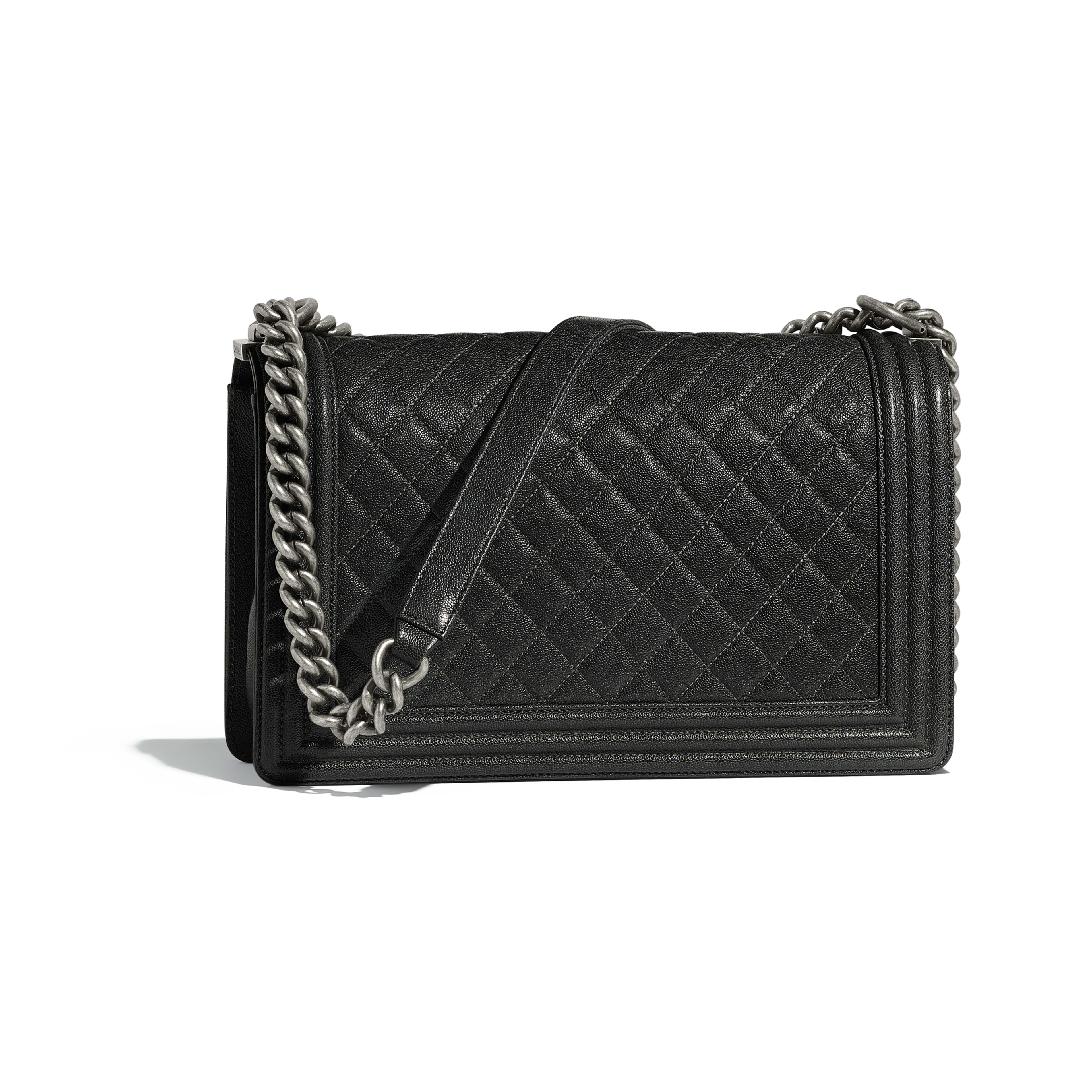 Large BOY CHANEL Handbag Grained Calfskin & Ruthenium-Finish Metal Charcoal -                                       view 2 - see full sized version