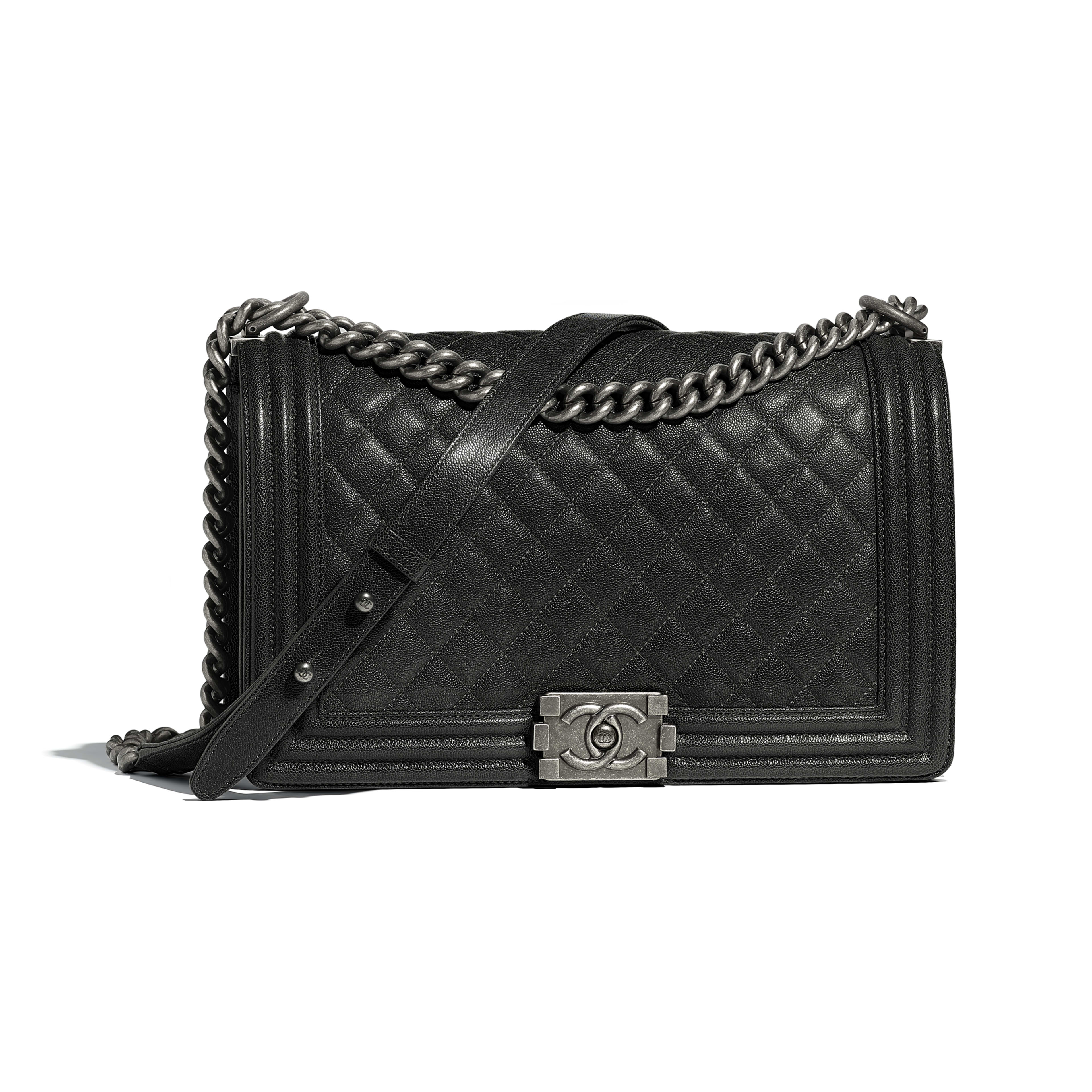 Large BOY CHANEL Handbag Grained Calfskin & Ruthenium-Finish Metal Charcoal -                                  view 1 - see full sized version
