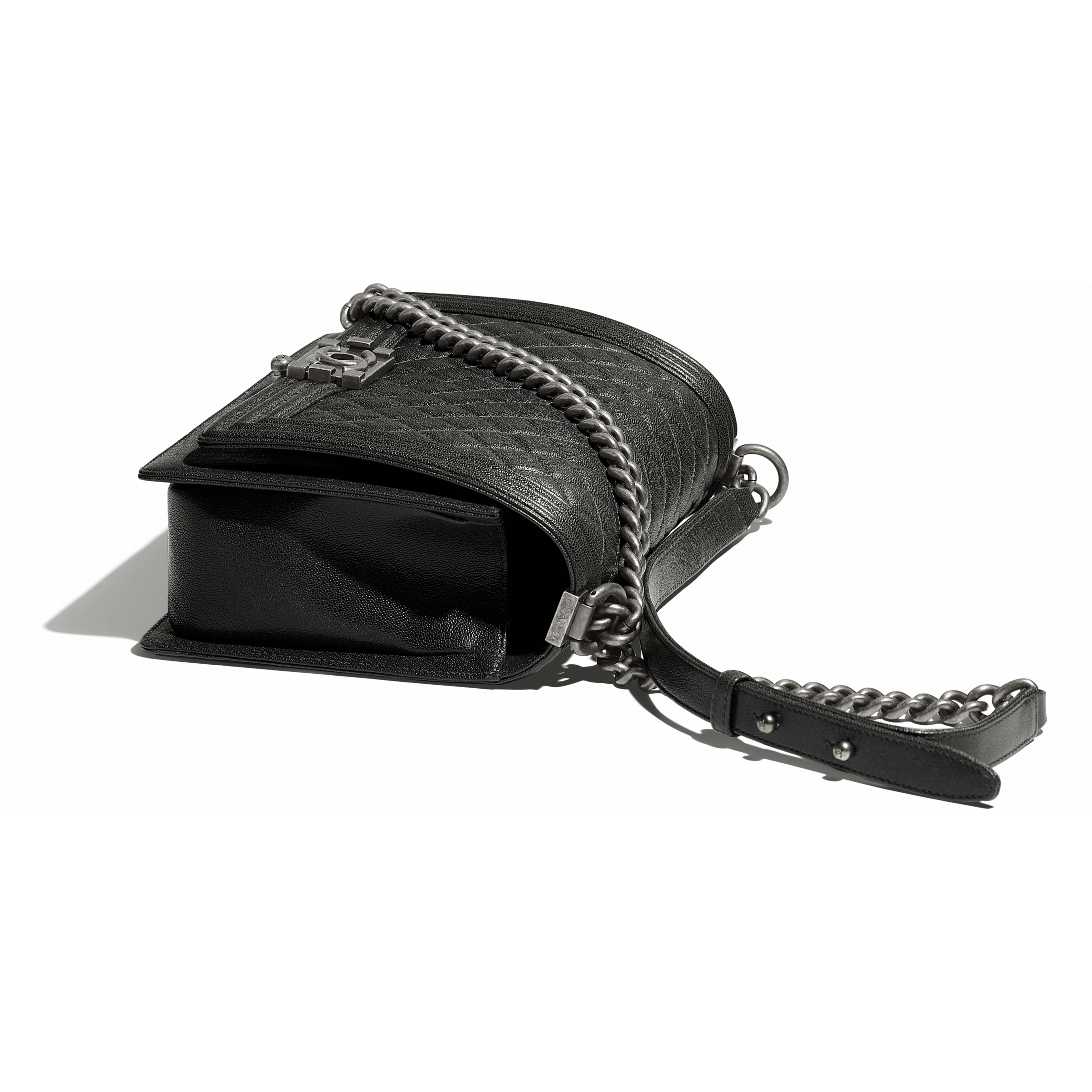 Large BOY CHANEL Handbag Grained Calfskin & Ruthenium-Finish Metal Charcoal -                                            view 3 - see full sized version