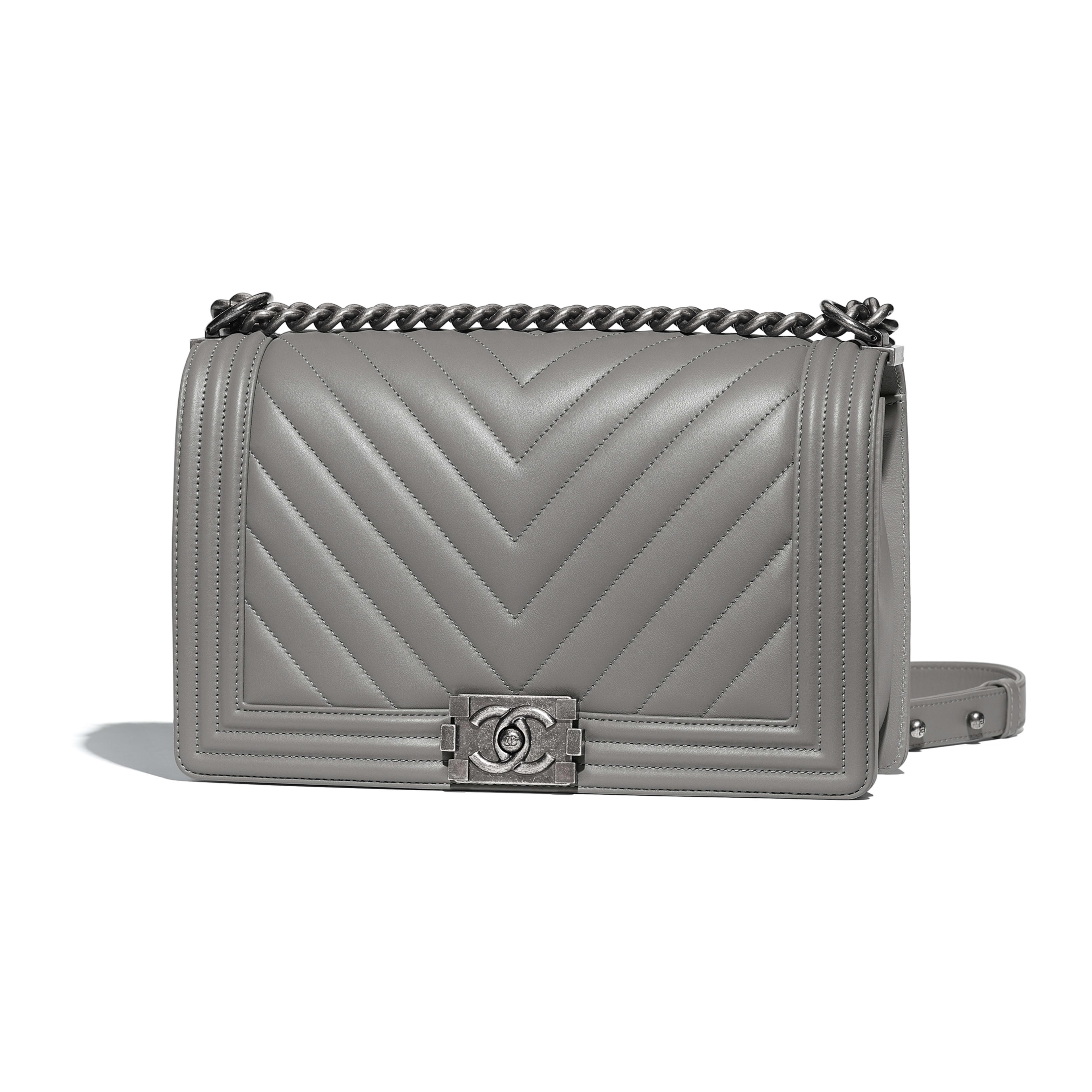 Large BOY CHANEL Handbag Calfskin & Ruthenium-Finish Metal Gray -                                  view 1 - see full sized version