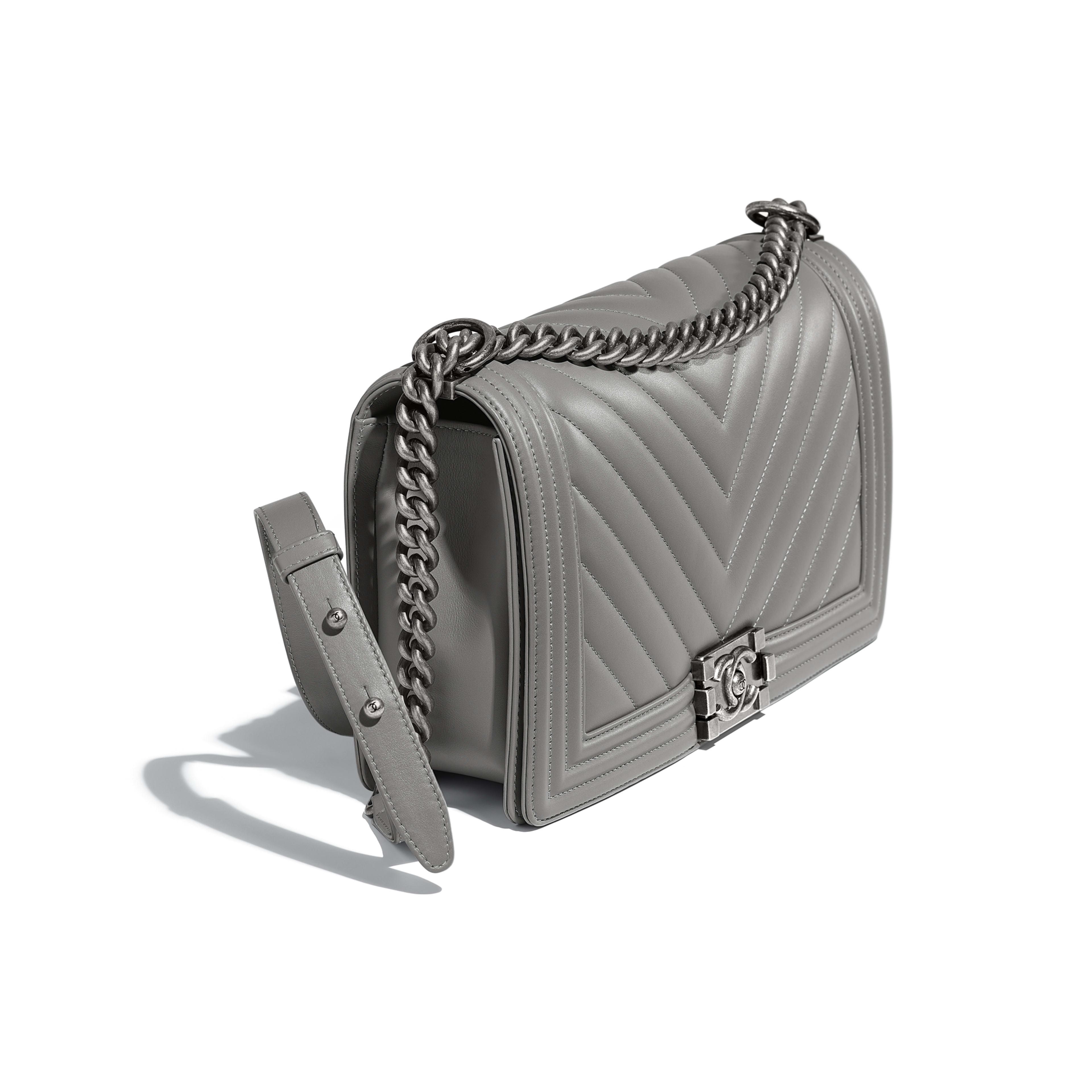 Large BOY CHANEL Handbag Calfskin & Ruthenium-Finish Metal Gray -                                            view 3 - see full sized version