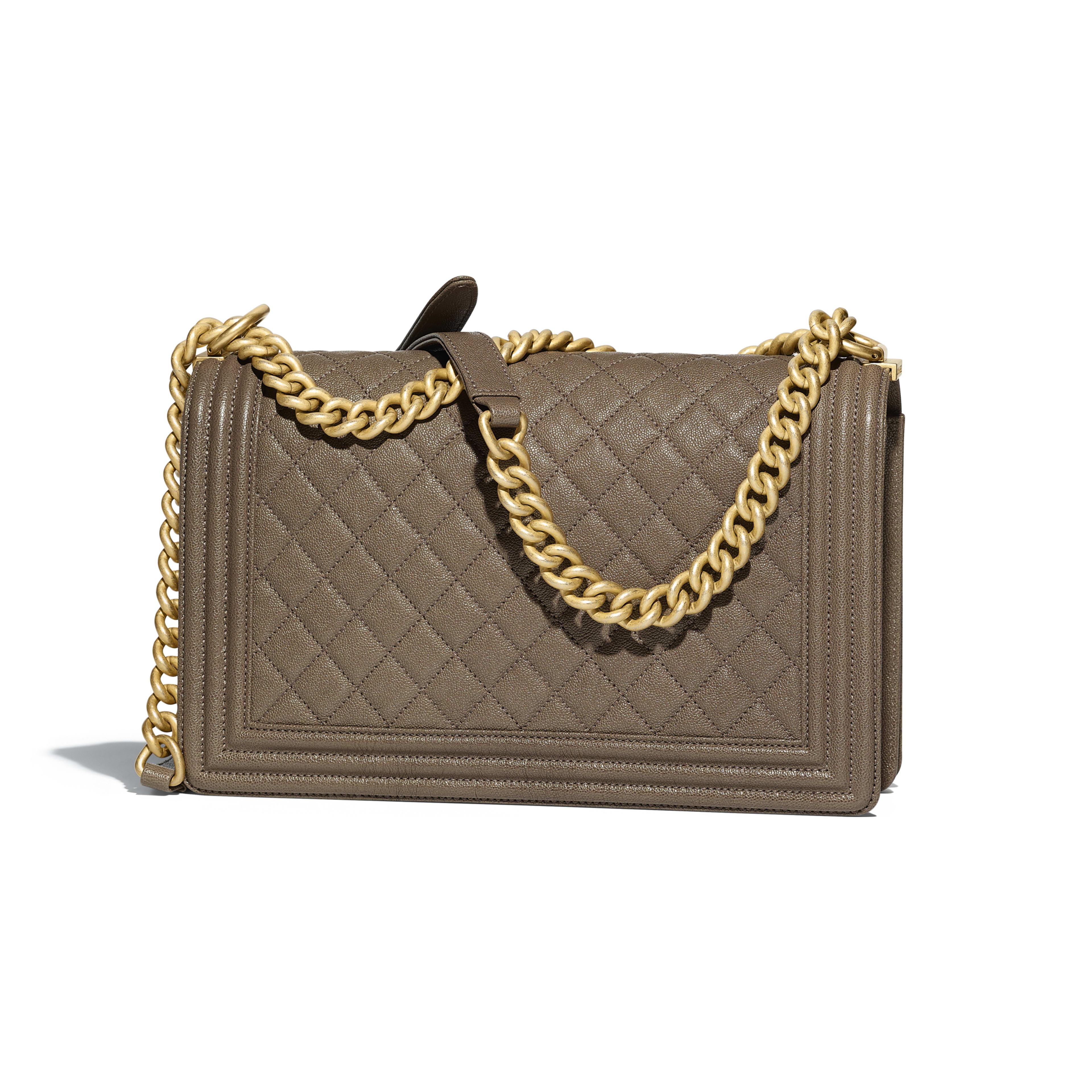 Large BOY CHANEL Handbag Grained Calfskin & Gold-Tone Metal Khaki -                                       view 2 - see full sized version