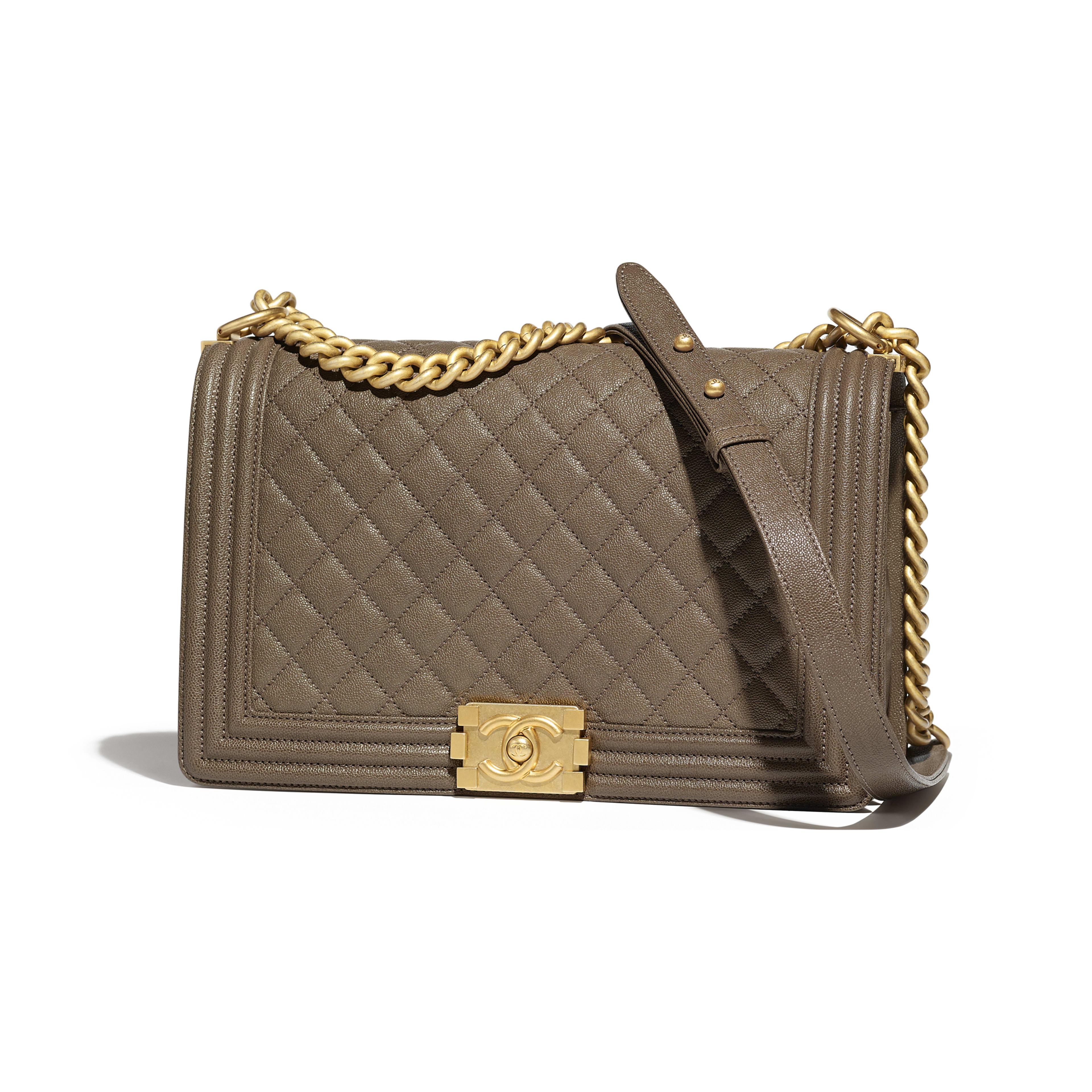 Large BOY CHANEL Handbag Grained Calfskin & Gold-Tone Metal Khaki -                                  view 1 - see full sized version
