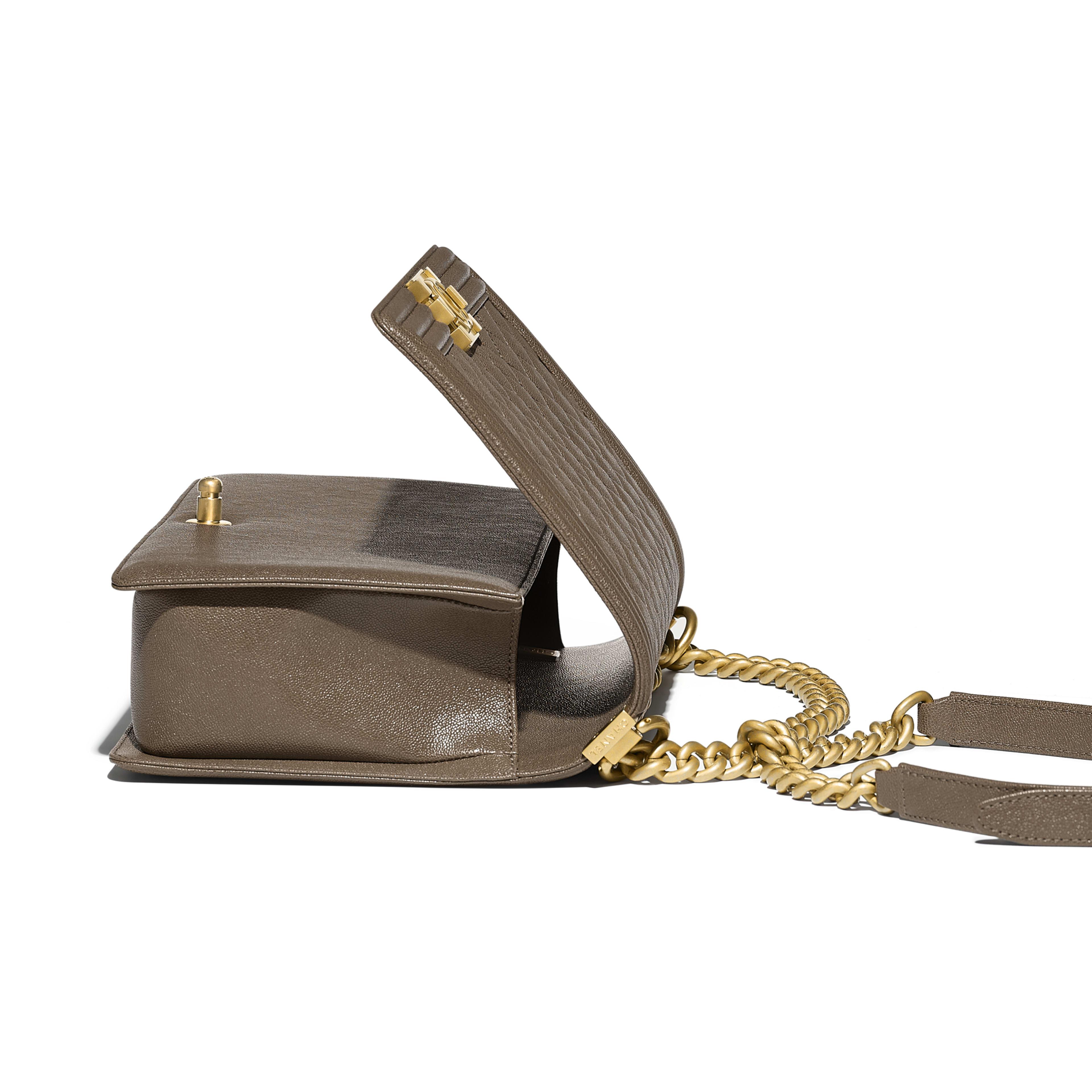 Large BOY CHANEL Handbag Grained Calfskin & Gold-Tone Metal Khaki -                                            view 3 - see full sized version