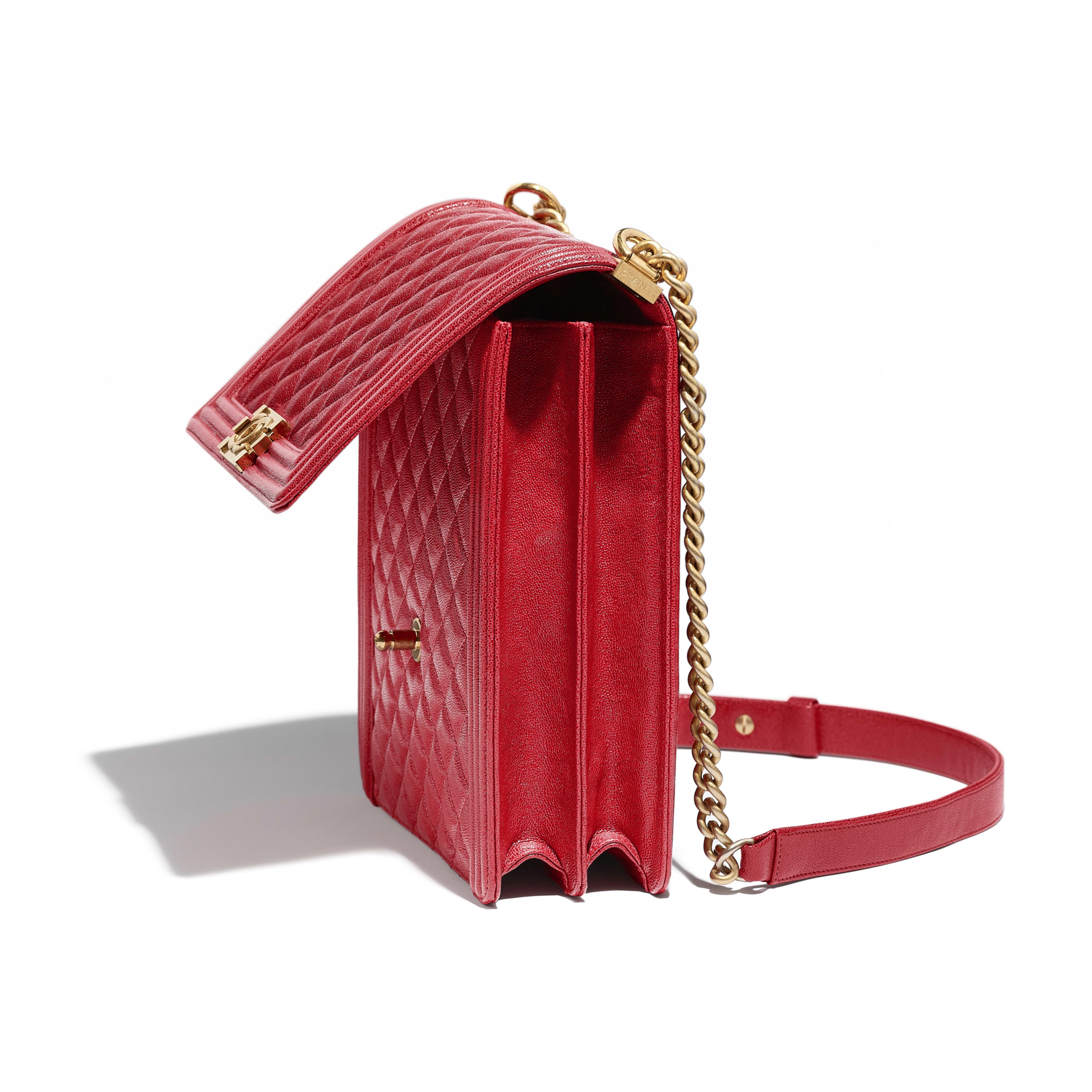 097576d5ac3db0 Grained Calfskin & Gold-Tone Metal Red Large BOY CHANEL Handbag | CHANEL
