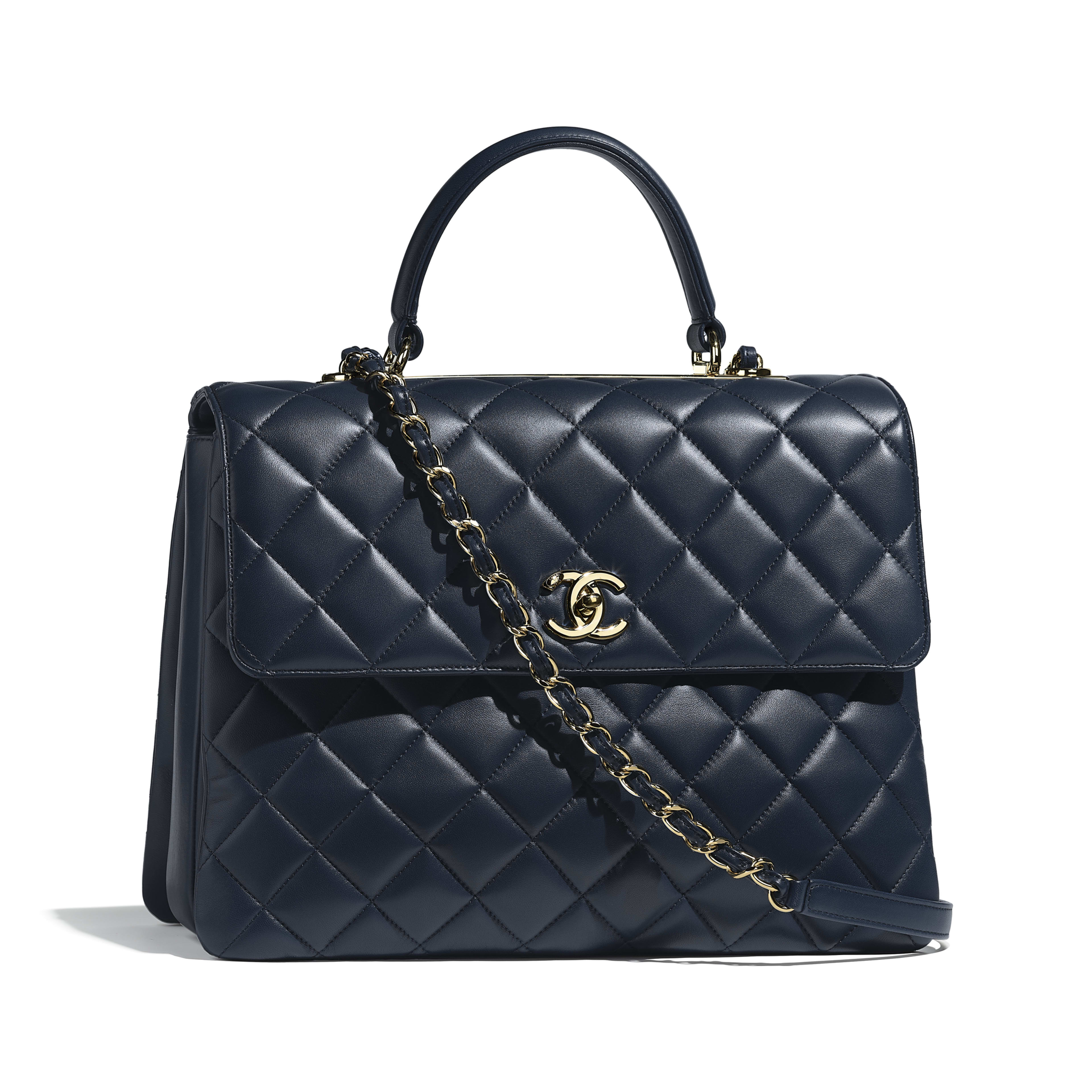 87f25dcb21a6 Lambskin Gold Tone Metal Navy Blue Large Flap Bag With Top Handle