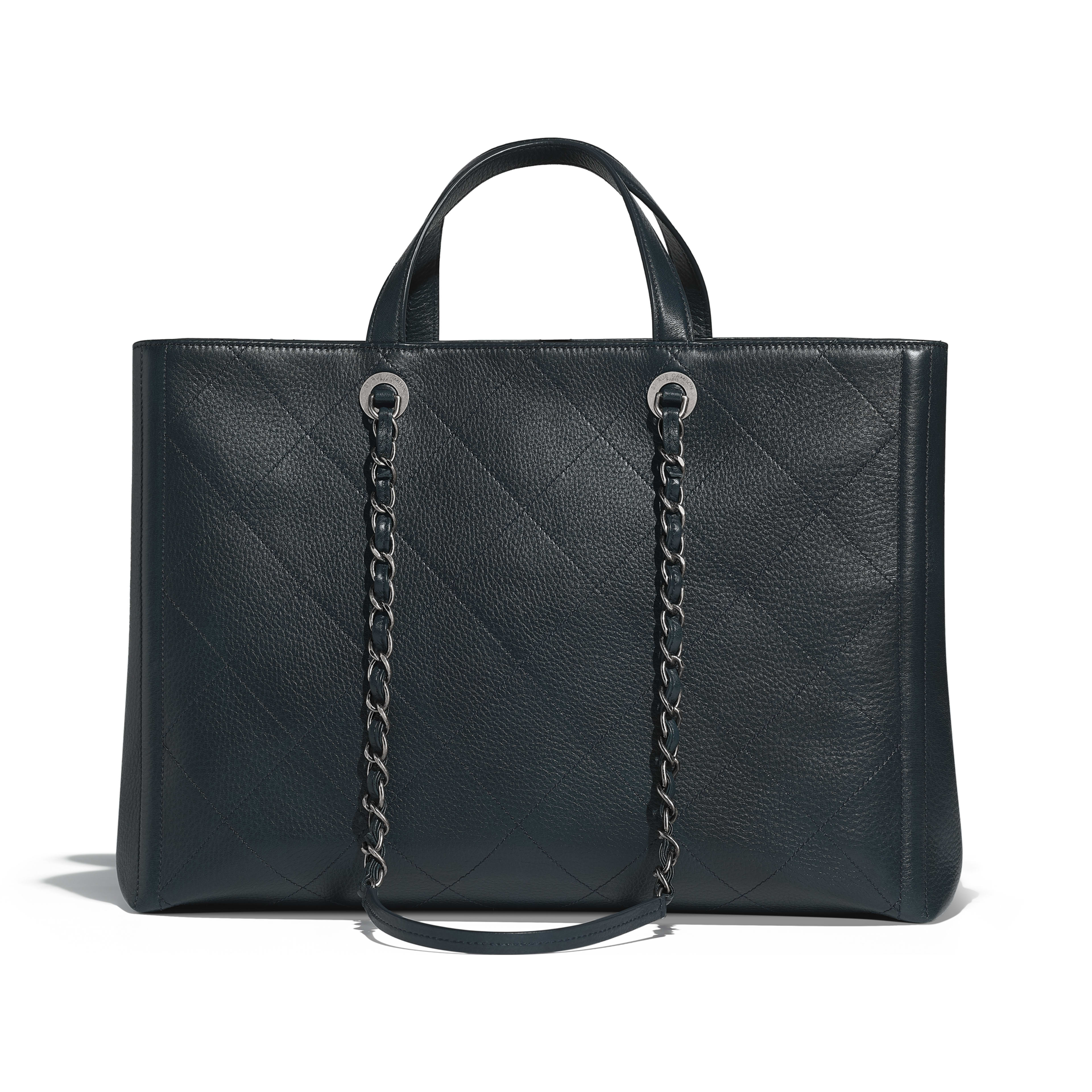 Large Ping Bag Navy Blue Grained Deerskin Ruthenium Finish Metal Alternative