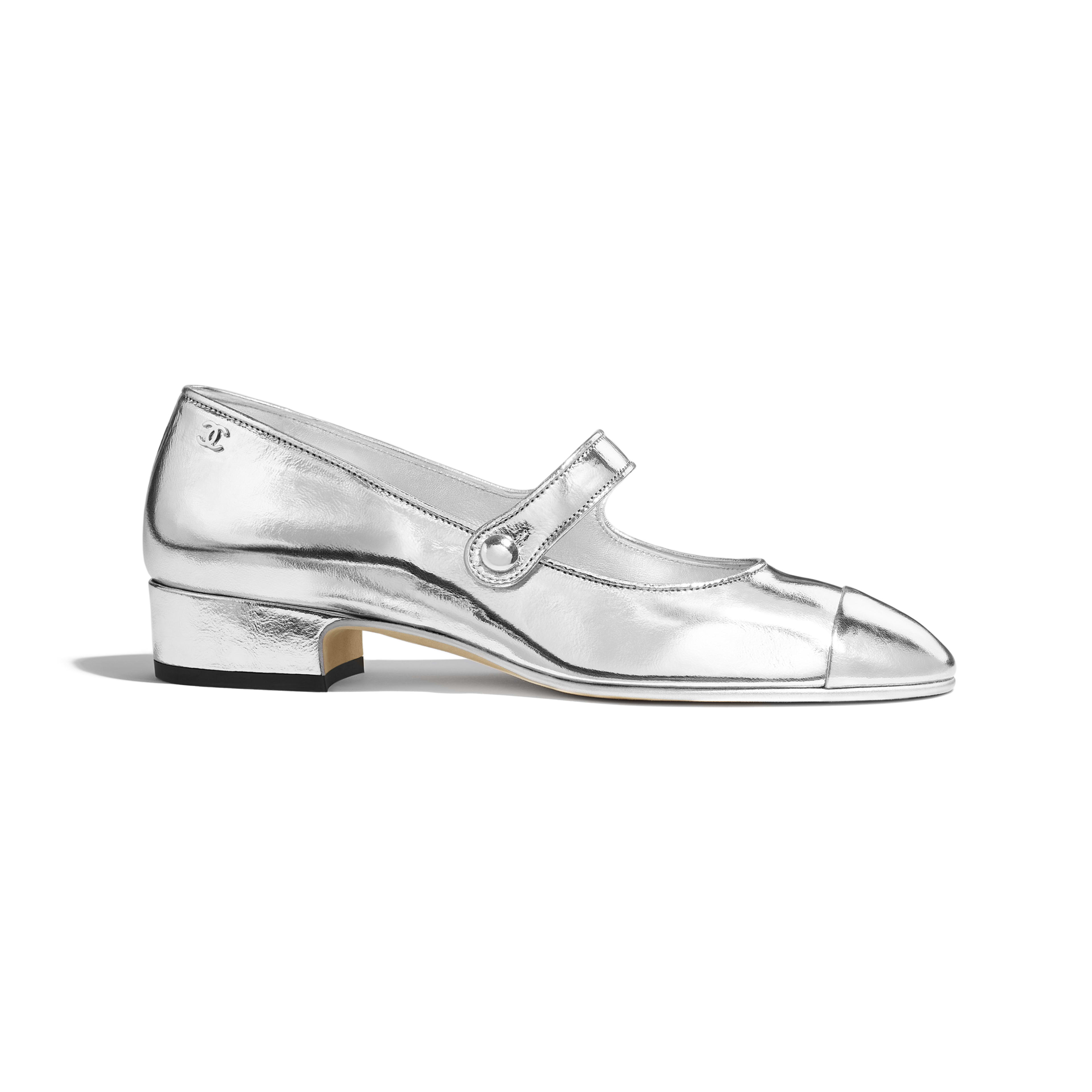 Mary Janes - Silver - Laminated Goatskin - Default view - see full sized version