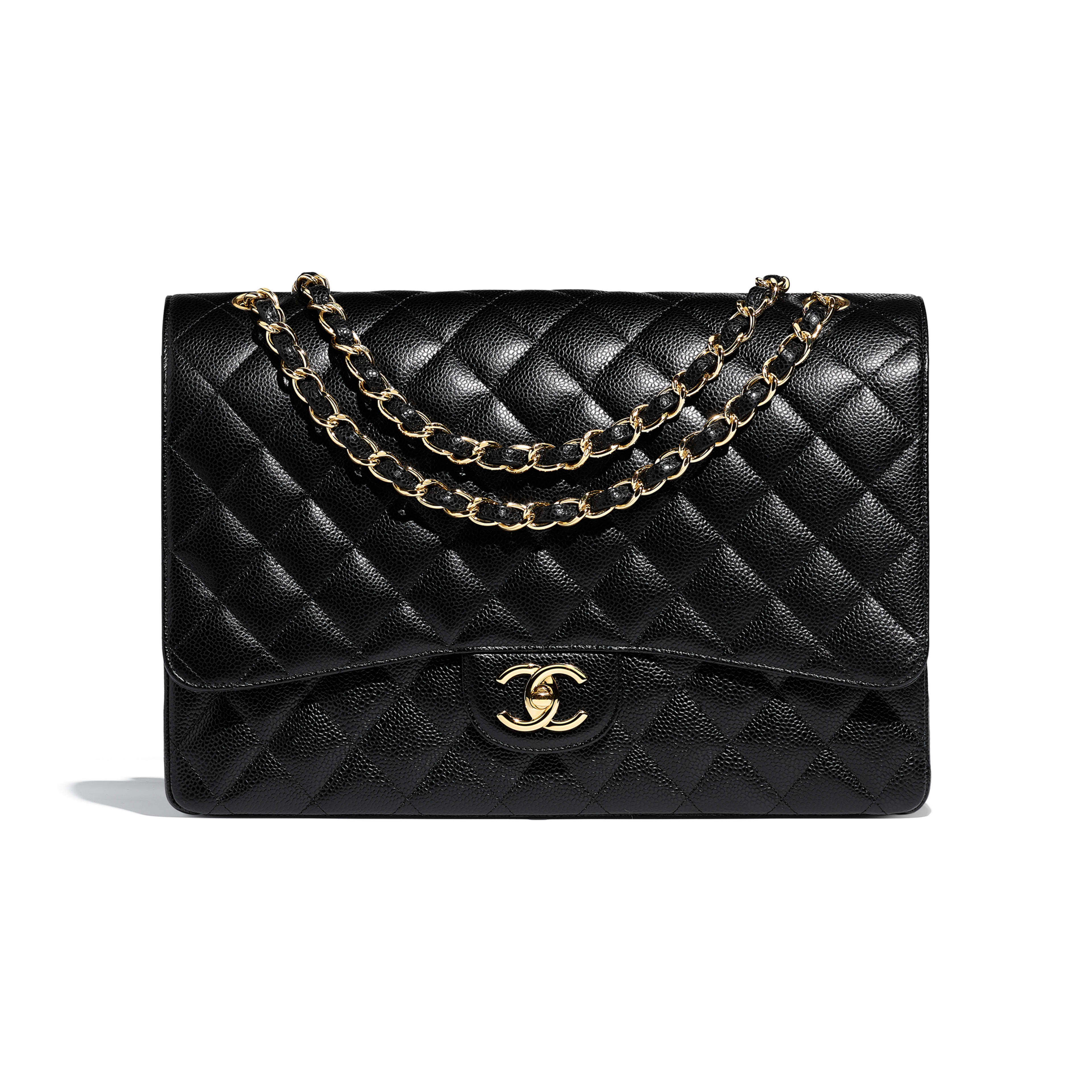 Maxi Classic Handbag - Black - Grained Calfskin   Gold-Tone Metal - Default  view ... c8cf31fccf