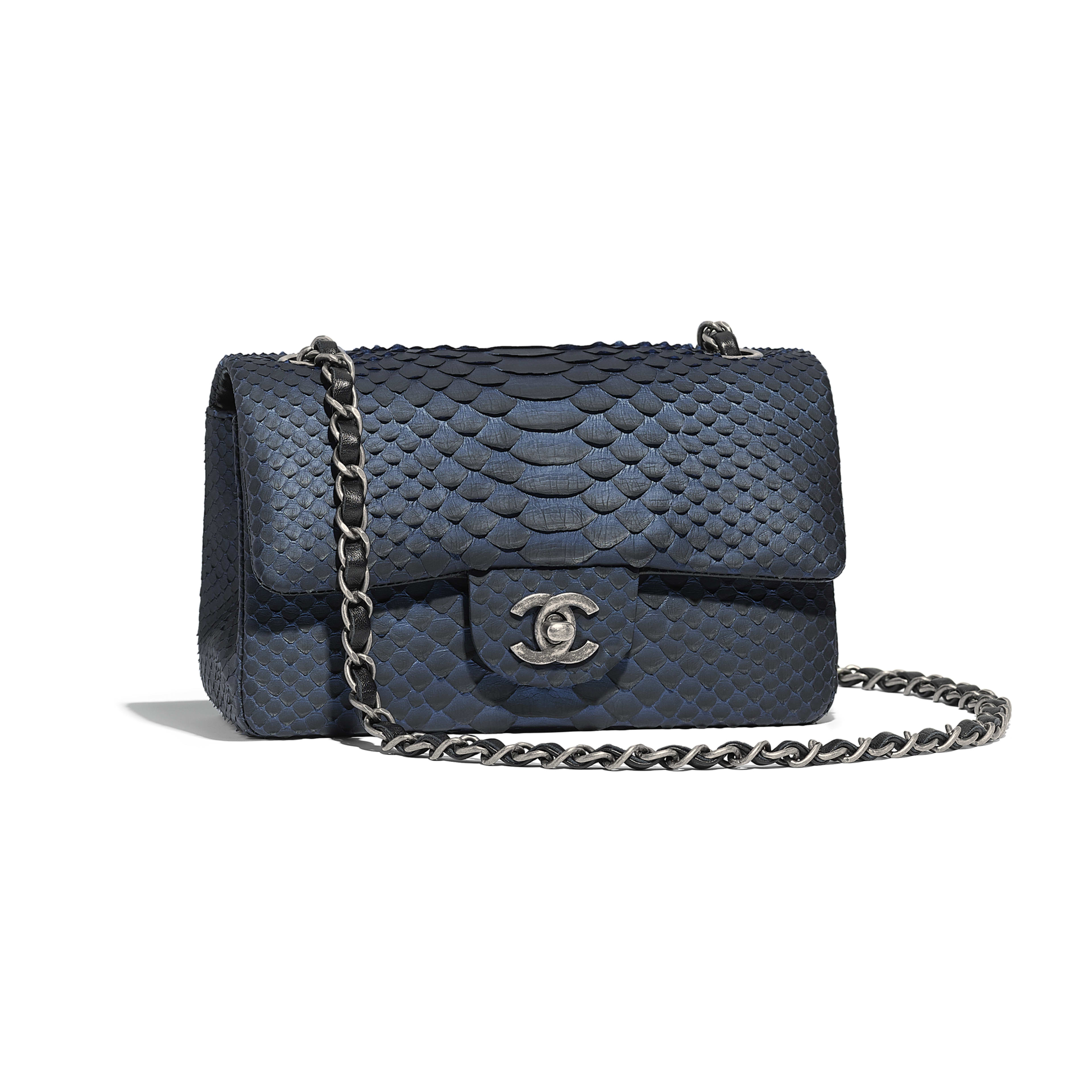 567e6243419a Python Ruthenium Finish Metal Blue Black Mini Flap Bag Chanel