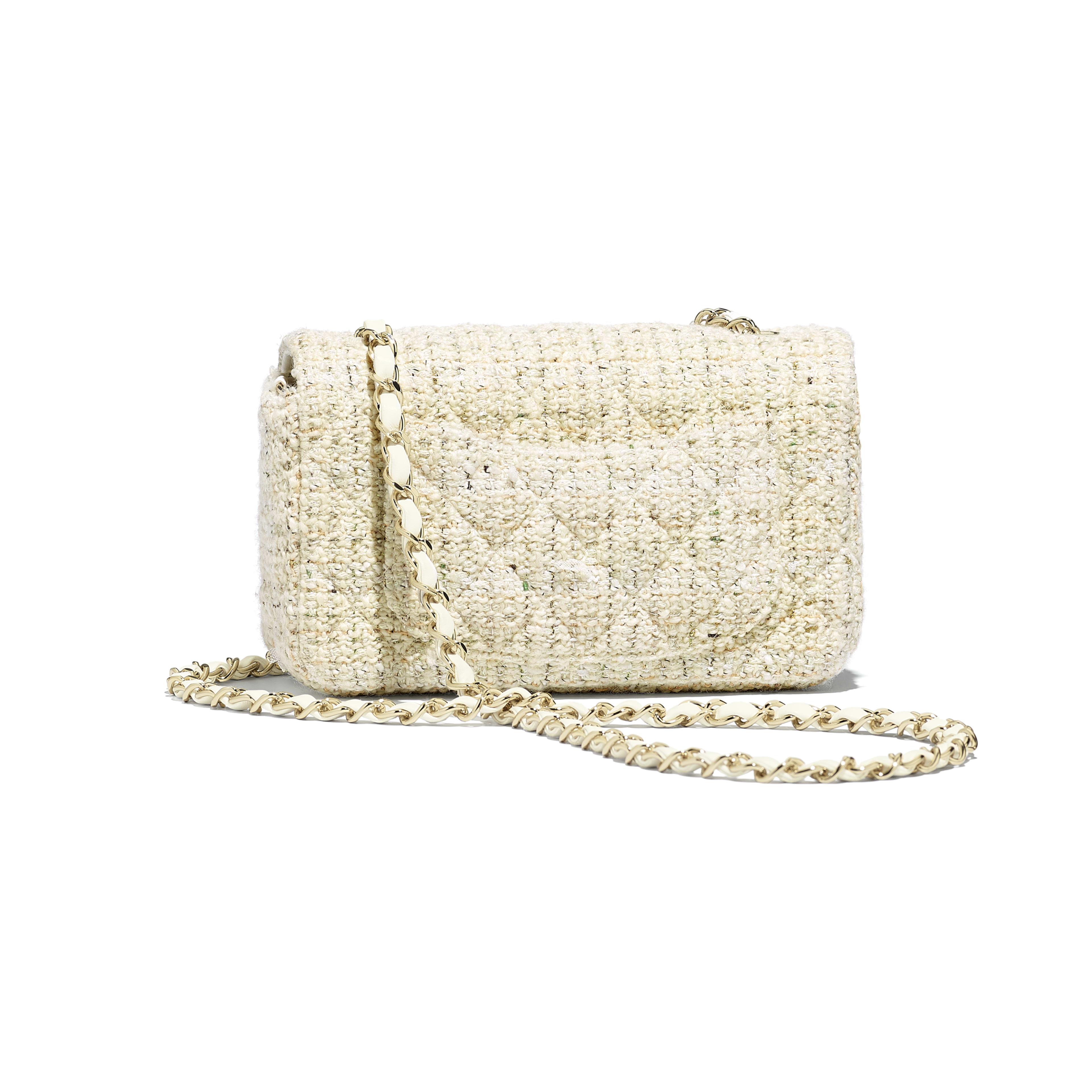 Mini Flap Bag - Ecru, white, green & gold - Tweed & Gold-Tone Metal - Alternative view - see full sized version