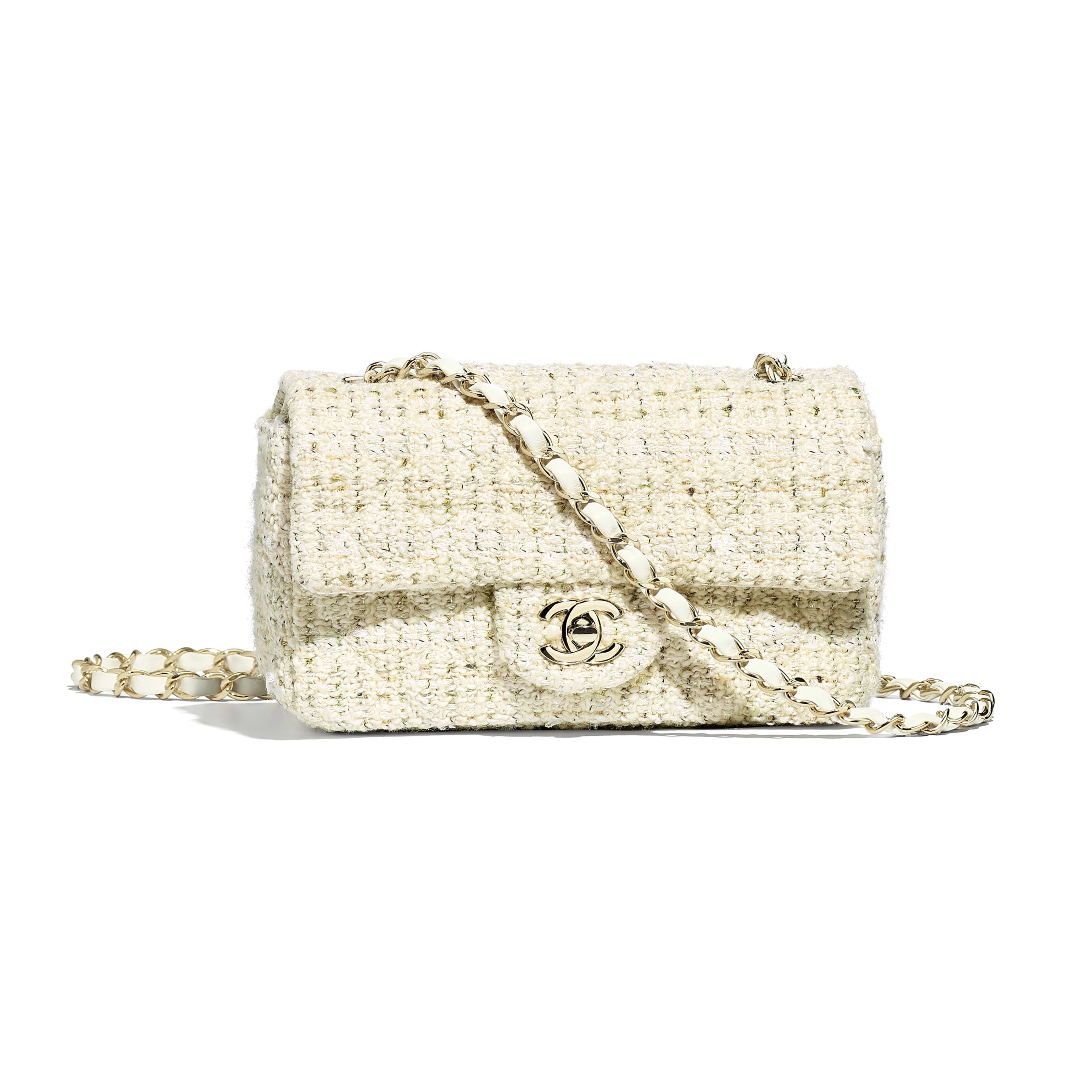Mini Flap Bag - Ecru, white, green & gold - Tweed & Gold-Tone Metal - Default view - see full sized version