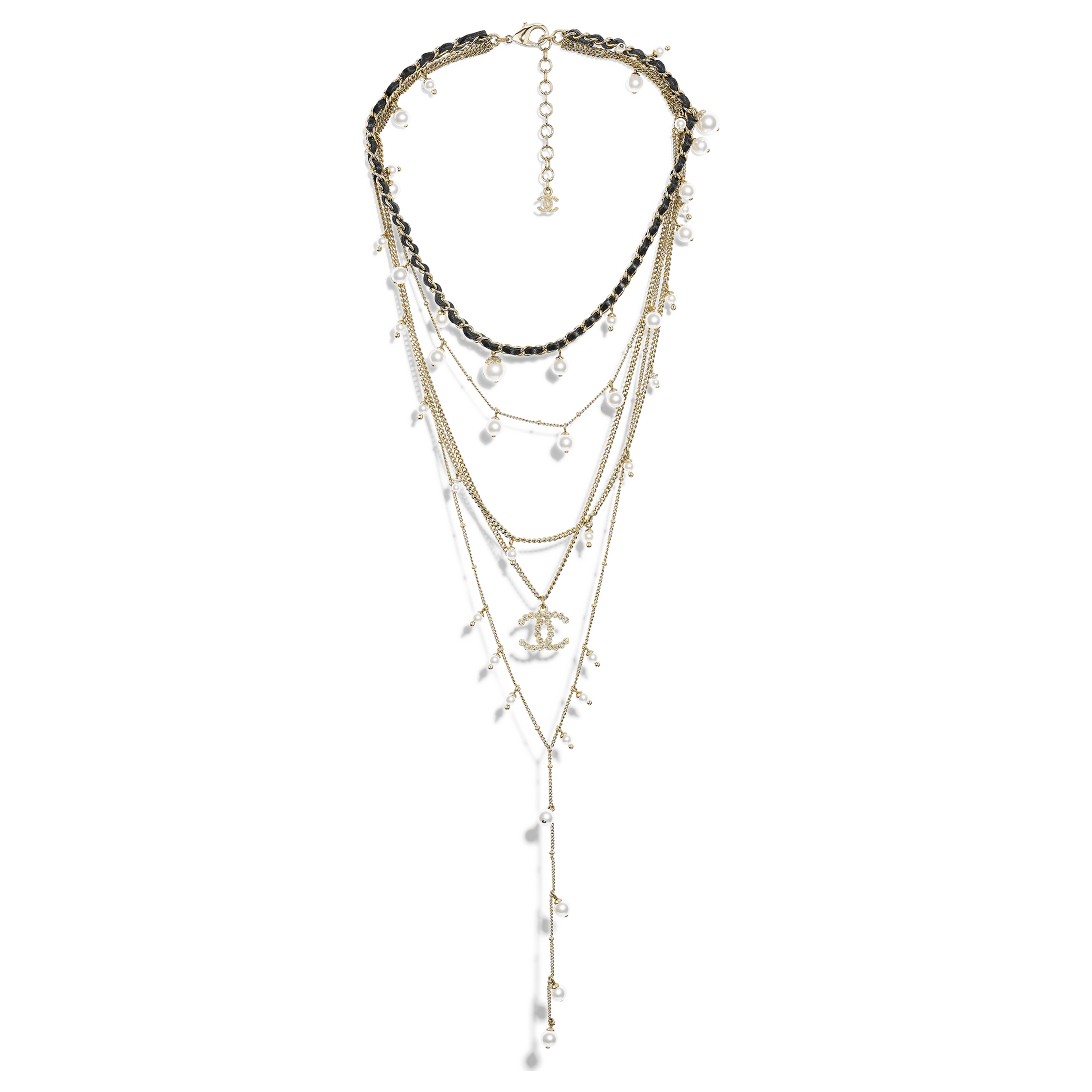 Necklace - Gold, Pearly White, Crystal & Black - Metal, Glass Pearls, Strass & Calfskin - Default view - see full sized version