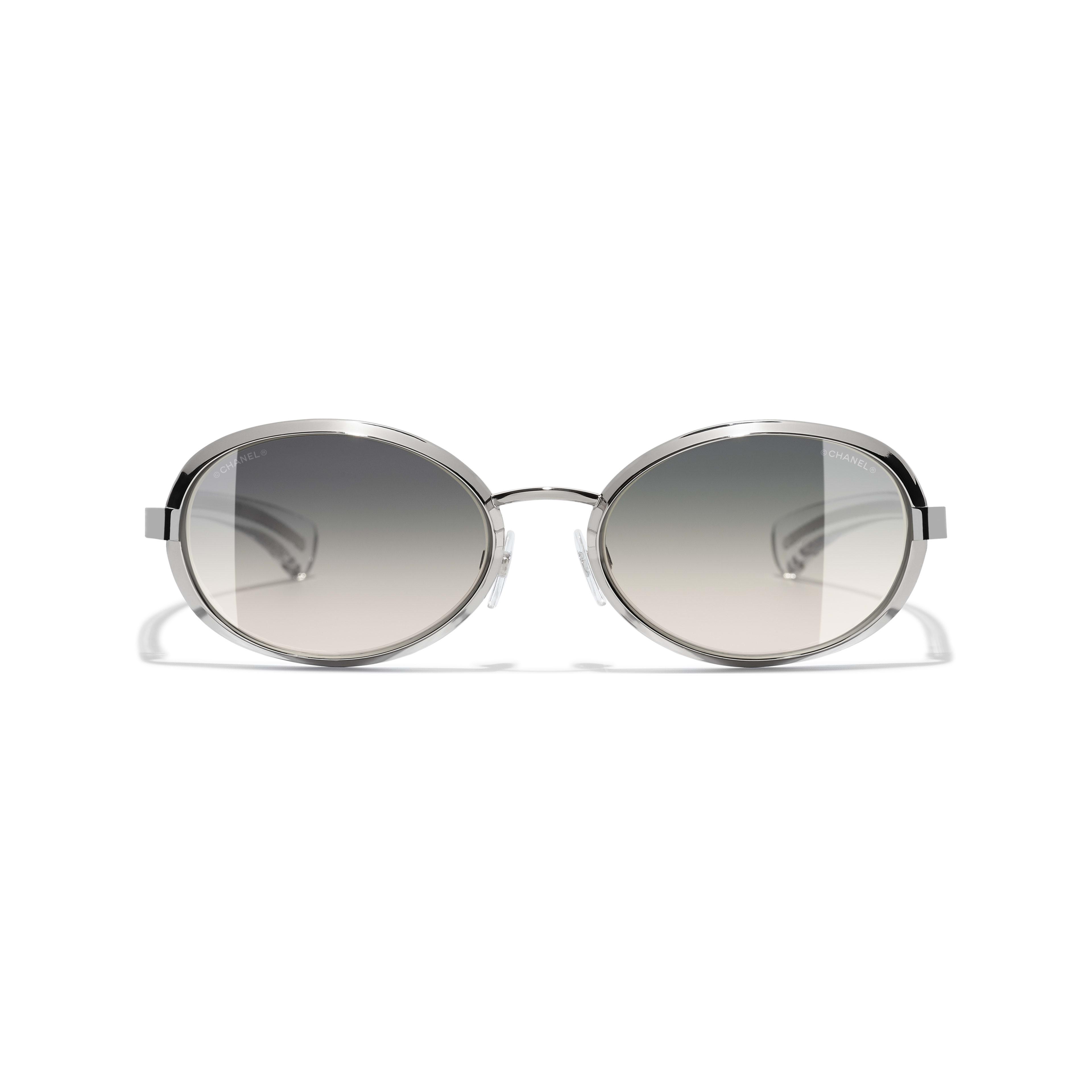 Oval Sunglasses Acetate & Metal Silver -                                                    view 2 - see full sized version