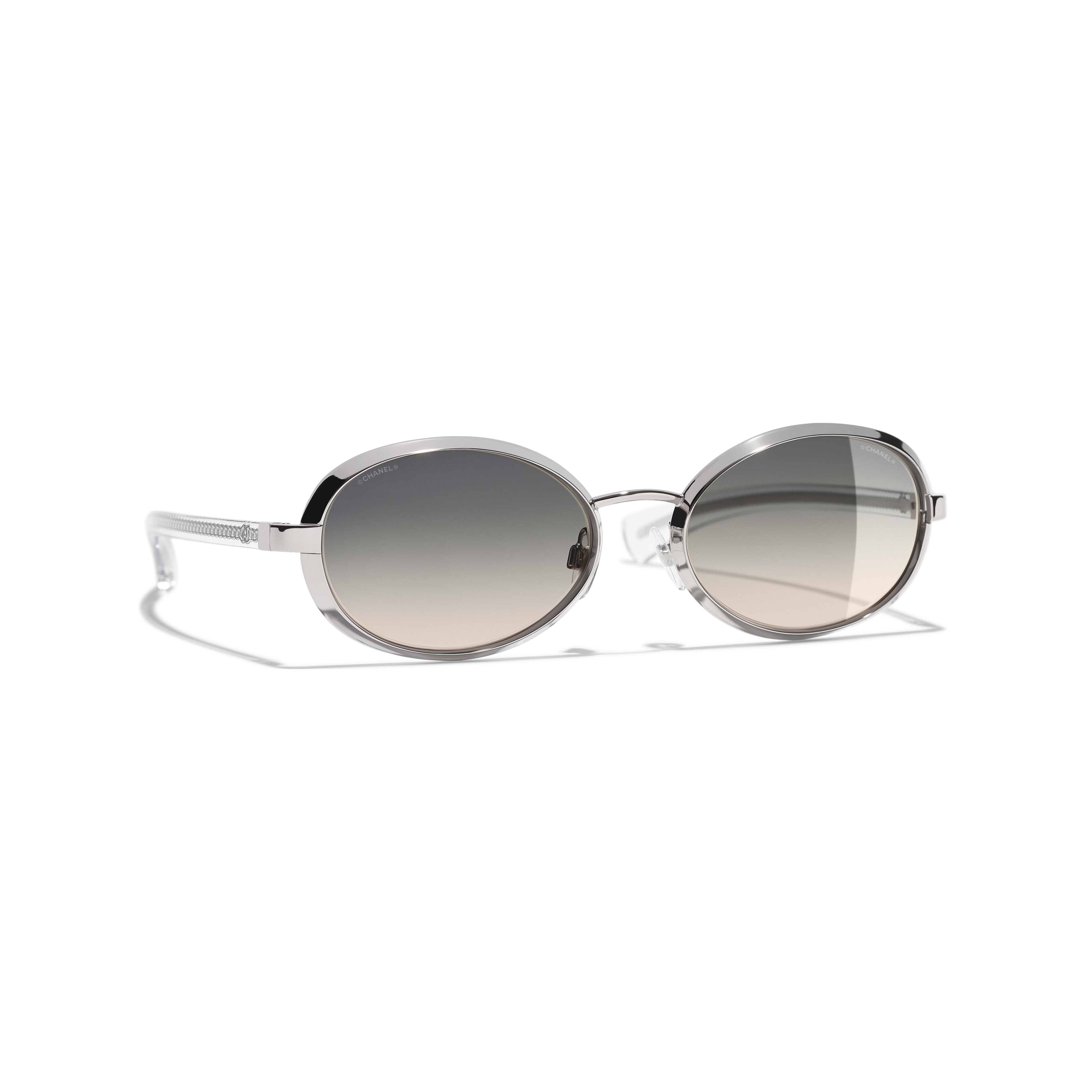 Oval Sunglasses Acetate & Metal Silver -                                               view 1 - see full sized version