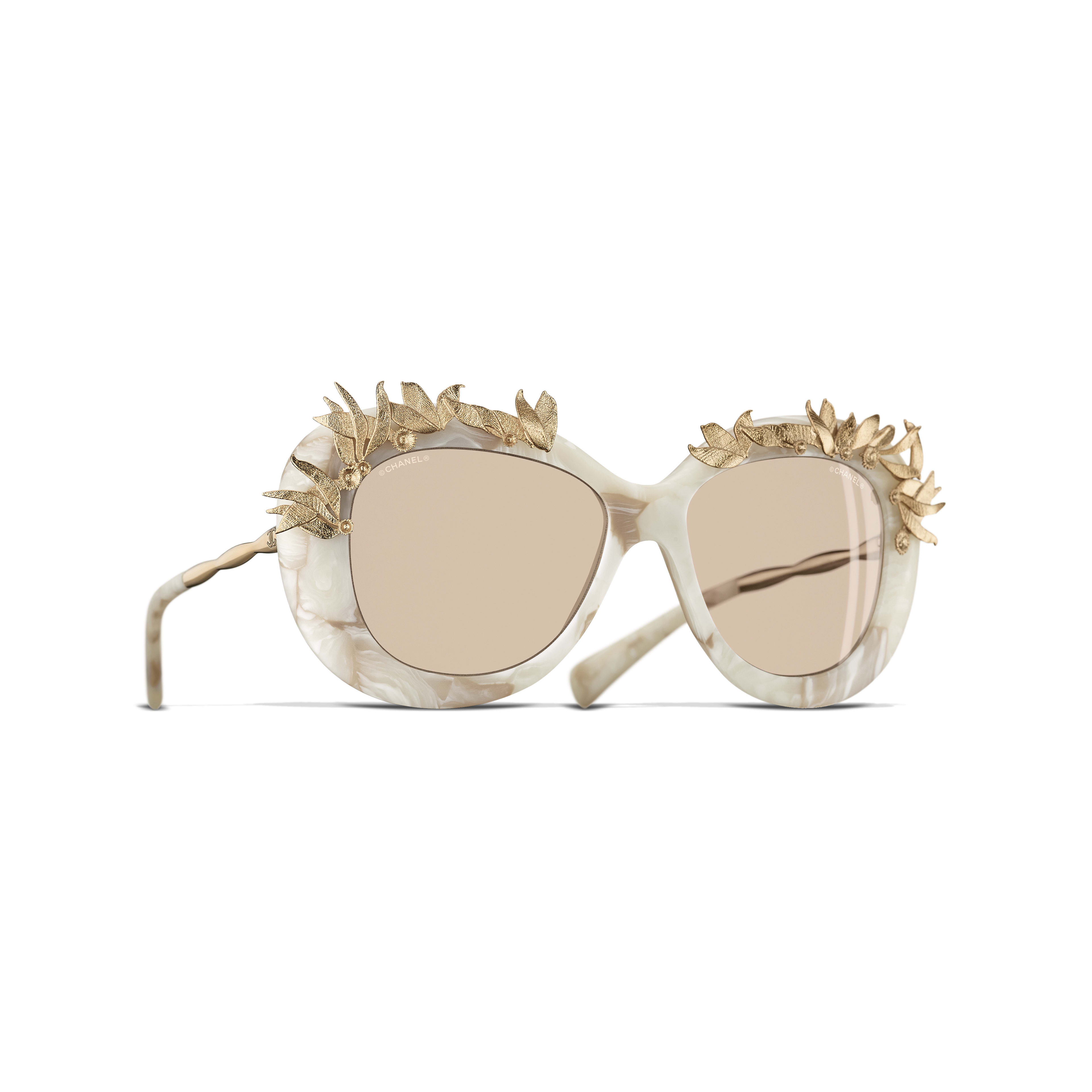 Oval Sunglasses Acetate & Metal White & Gold -                                               view 1 - see full sized version